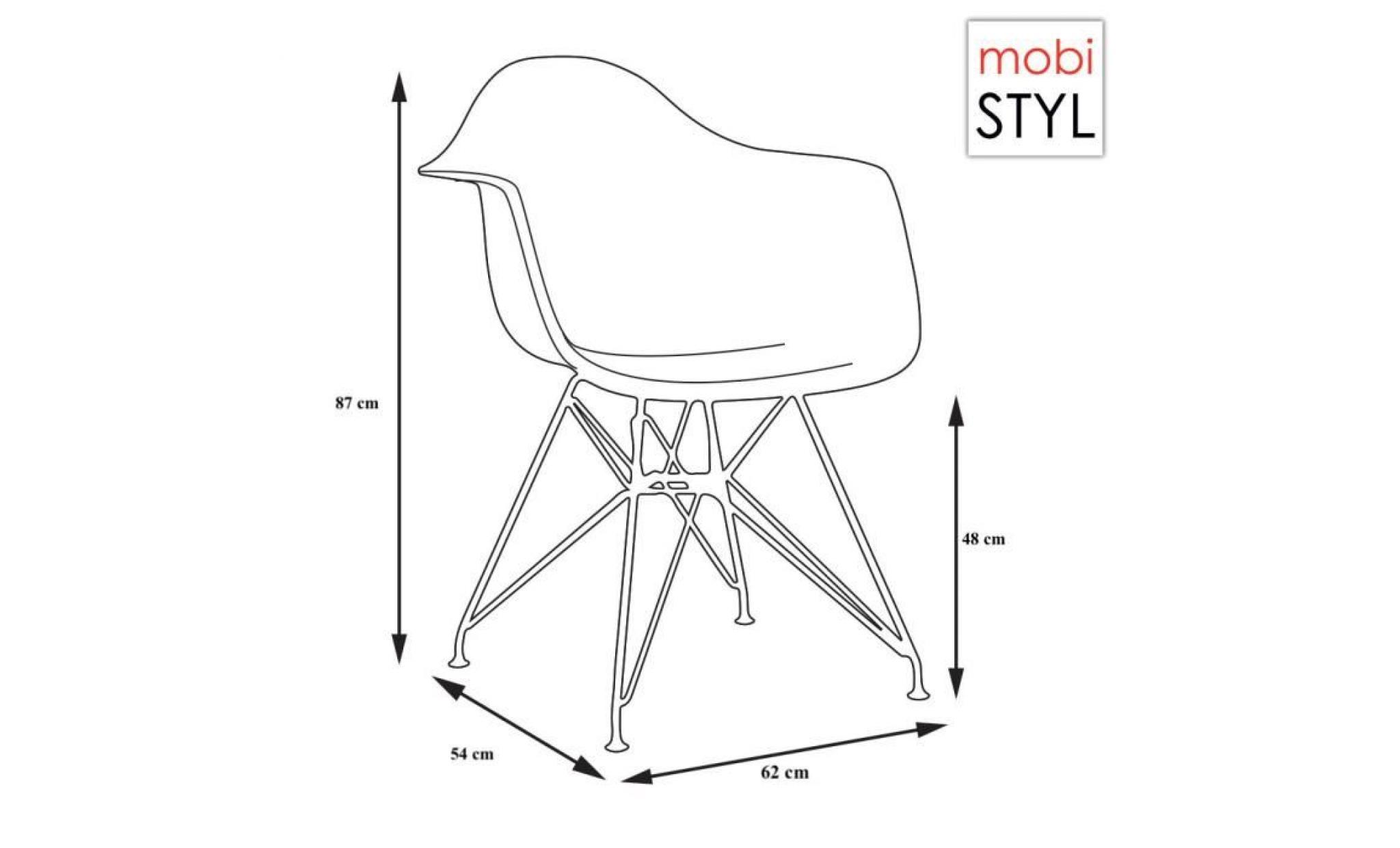fauteuil design 48cm style acier chrome vert pieds eames assise hauteur 1x eiffel mobistyl® dar WEI9D2HY