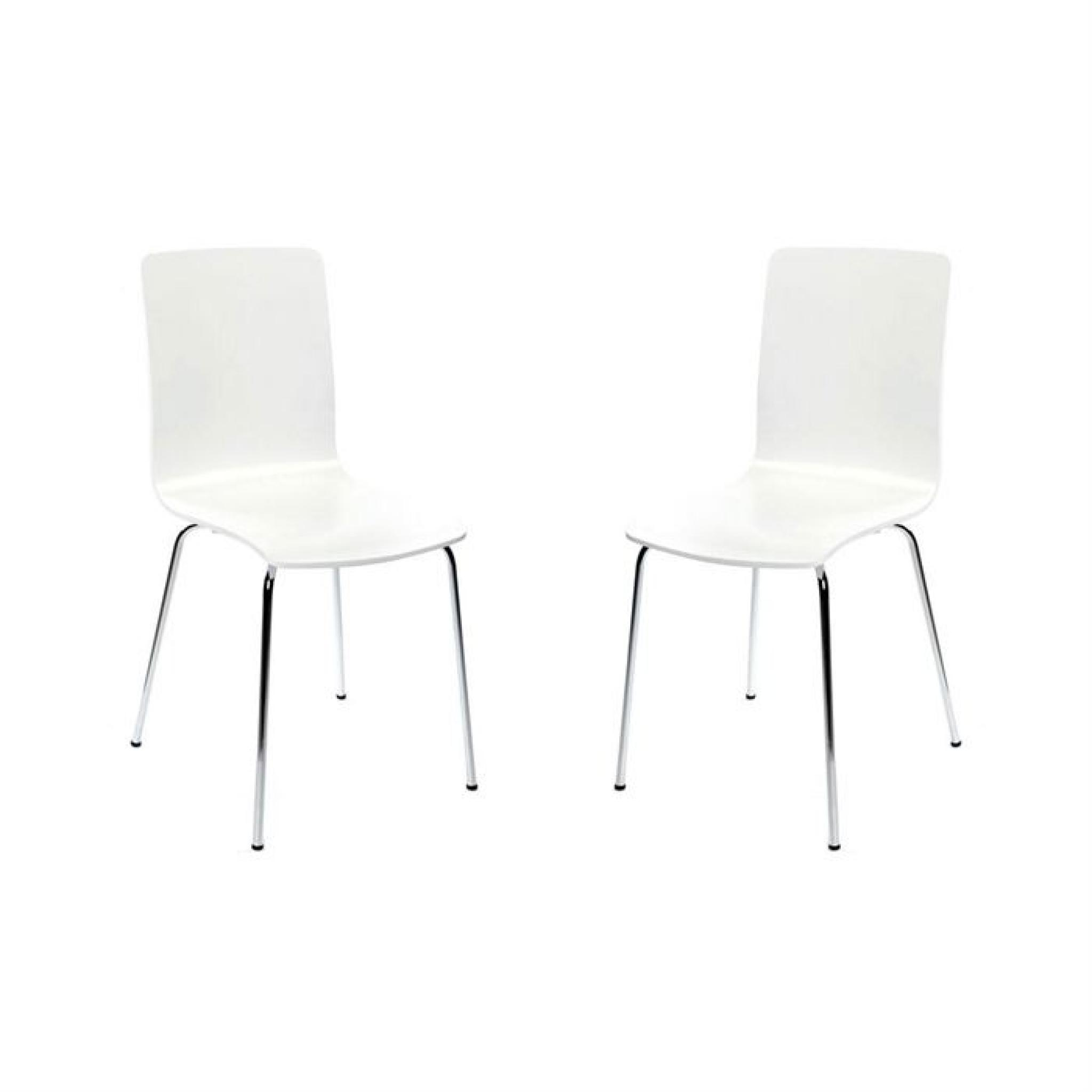 Lot de 2 chaises design cuisine blanches NELLY