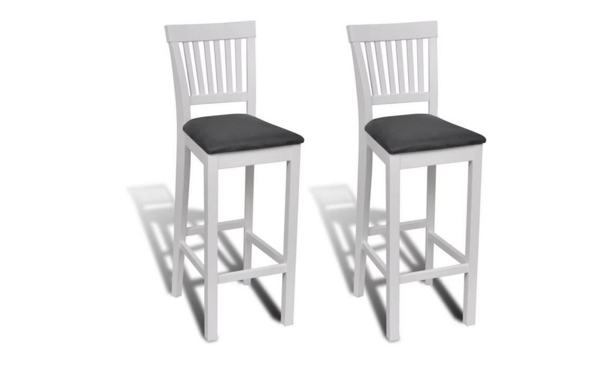 6 pcs Chaise bar en bois Peinture blanche