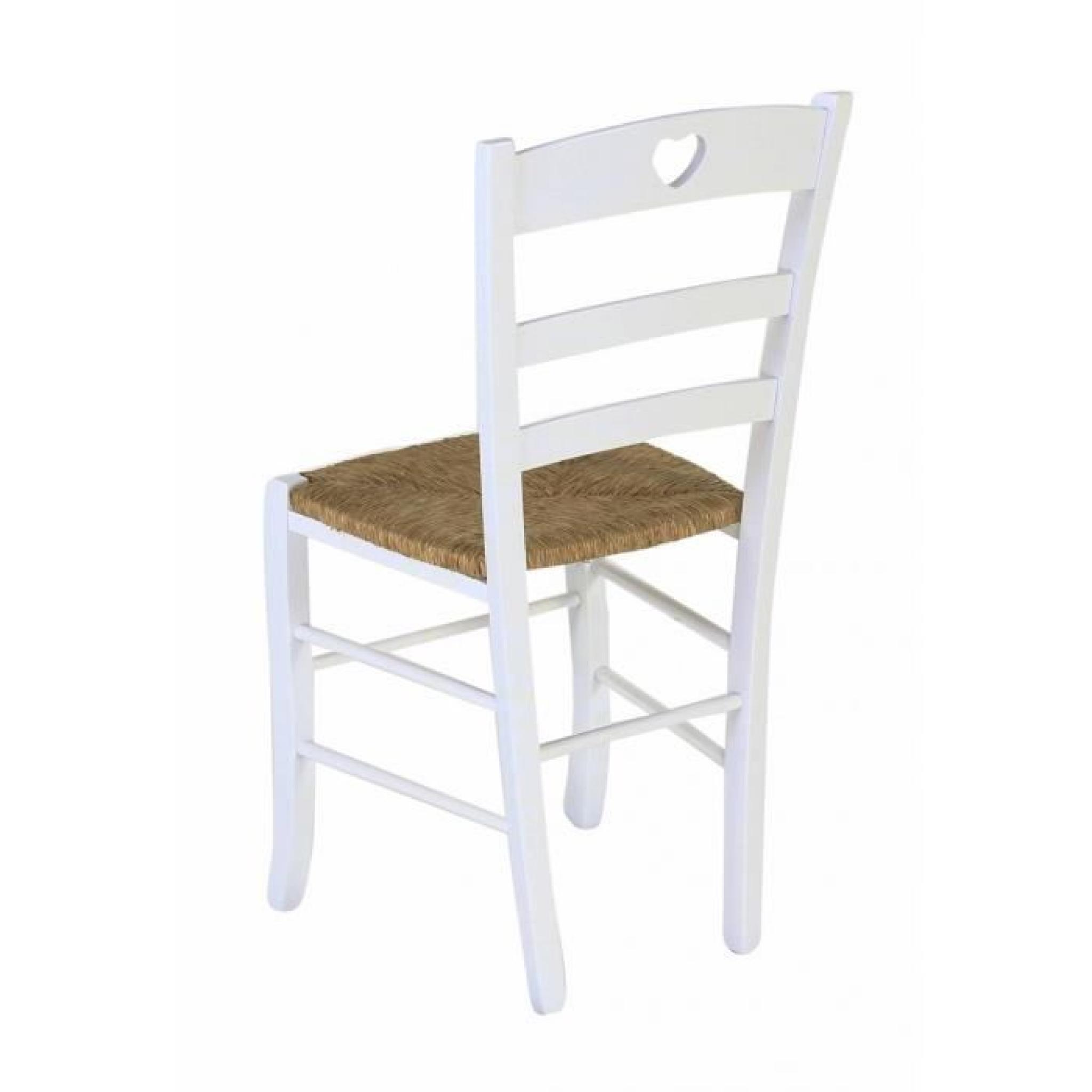 7 x Chaise hêtre massif blanc cœur assise paille Montagny - Pays