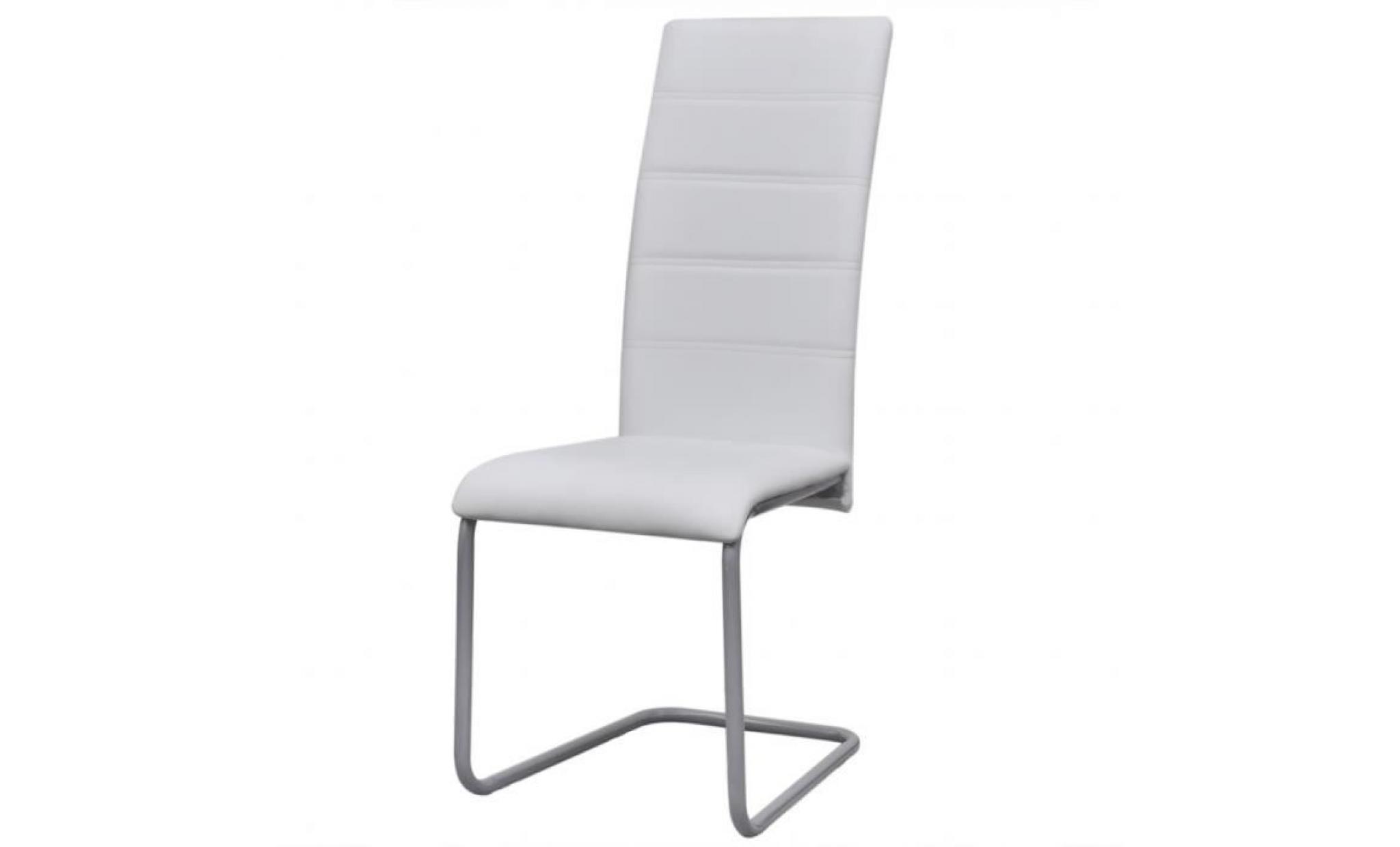 2pcs chaises à manger cantilever avec dossier haut blanc décor moderne de bureau maison ou salle à manger 41 x 52,5 x 102,5 cm