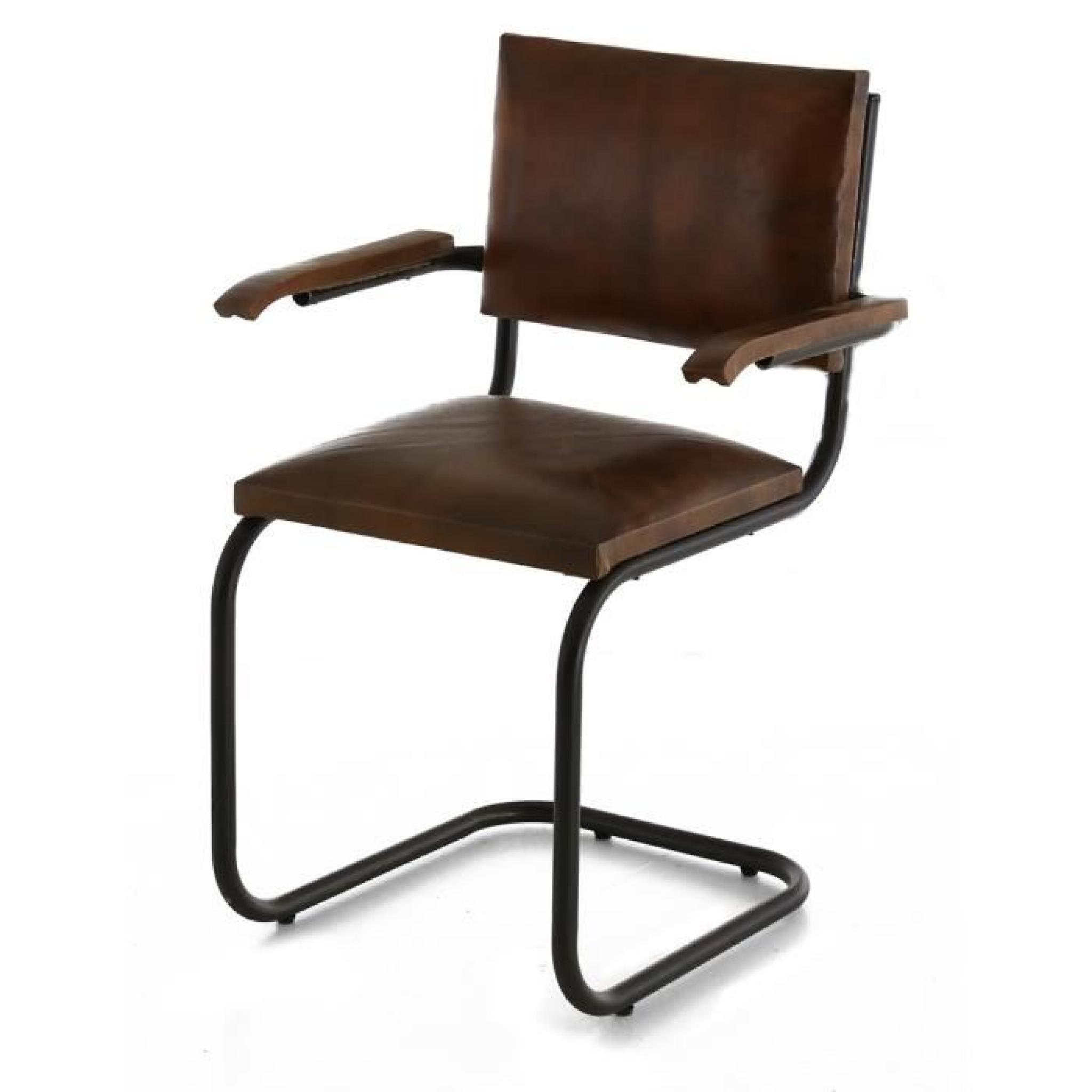 2x chaise cuir et m tal marron avec accoudoirs montecristo achat vente chaise salle a manger. Black Bedroom Furniture Sets. Home Design Ideas