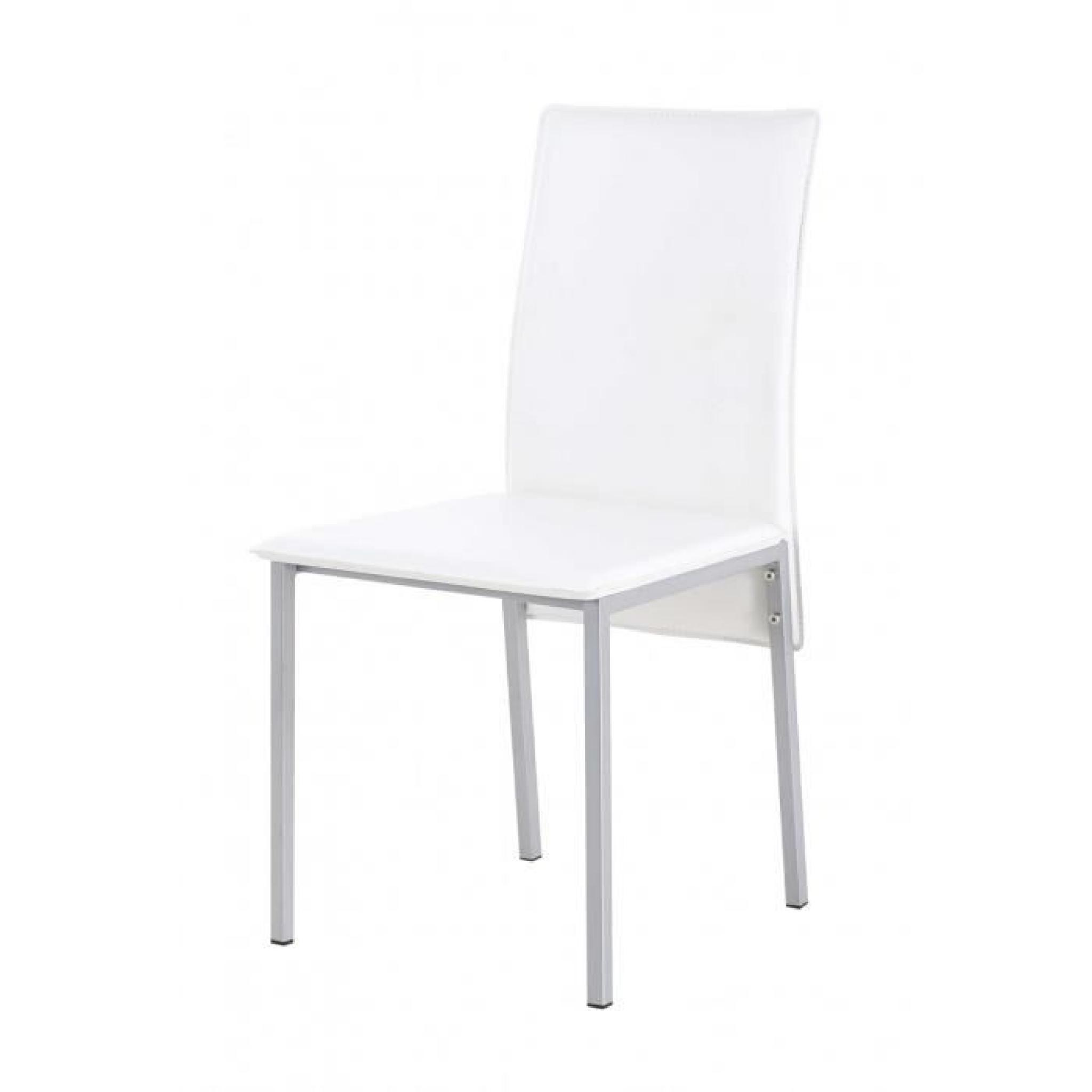 2x Chaise PU blanc Ines - Id'Click pas cher