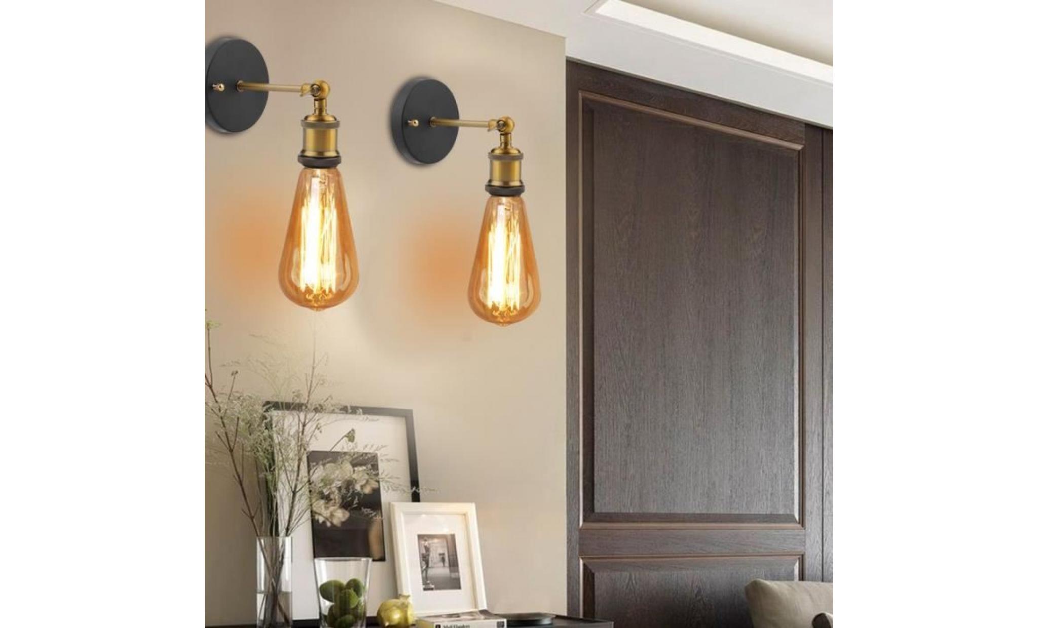 2x support de lampe murale design applique rétro industrielle porte