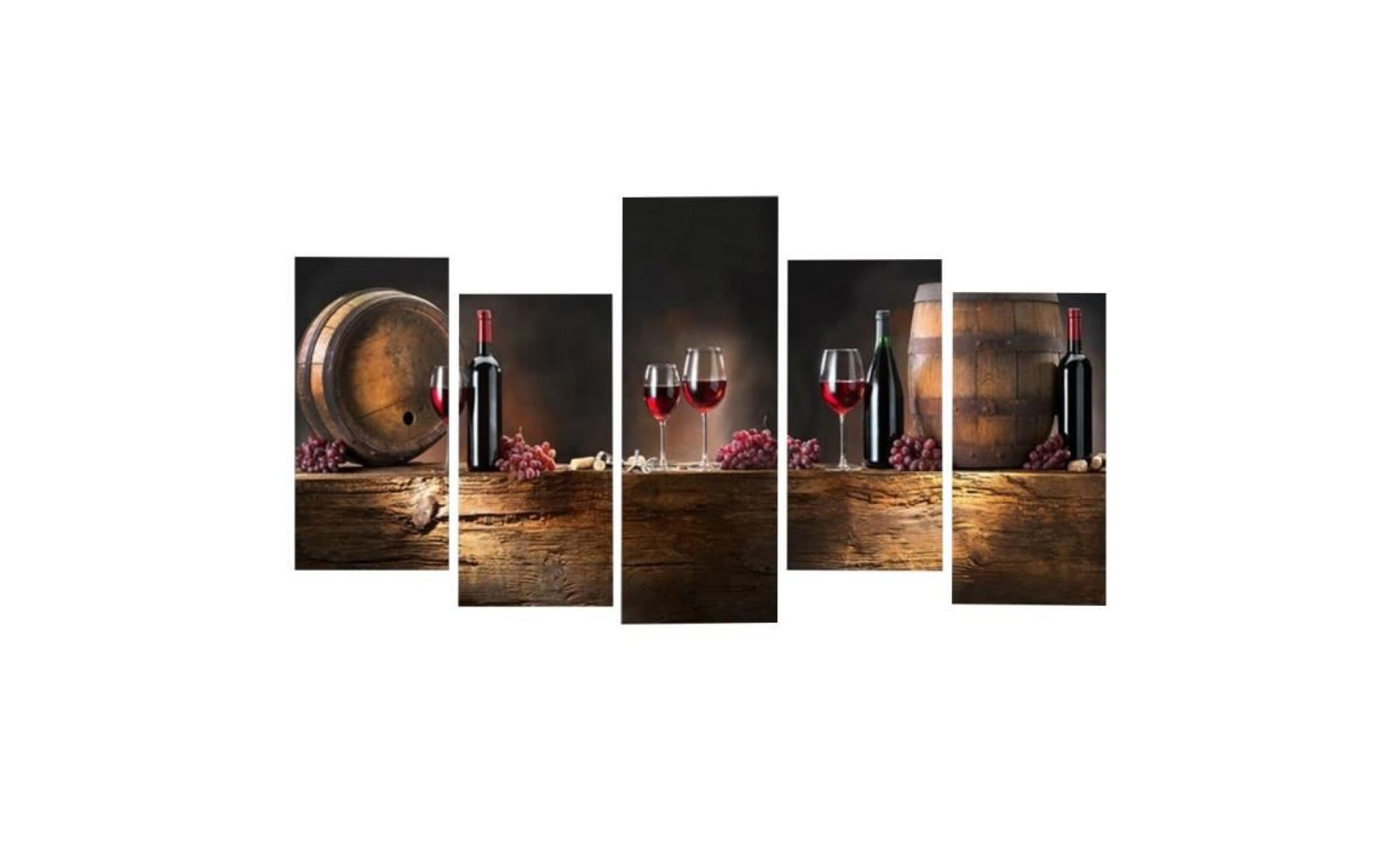 5 Pcs Vin Rouge Coupe Peinture à L Huile Toile Art Mur De Chambre Décor Sans Cadre Taille 1