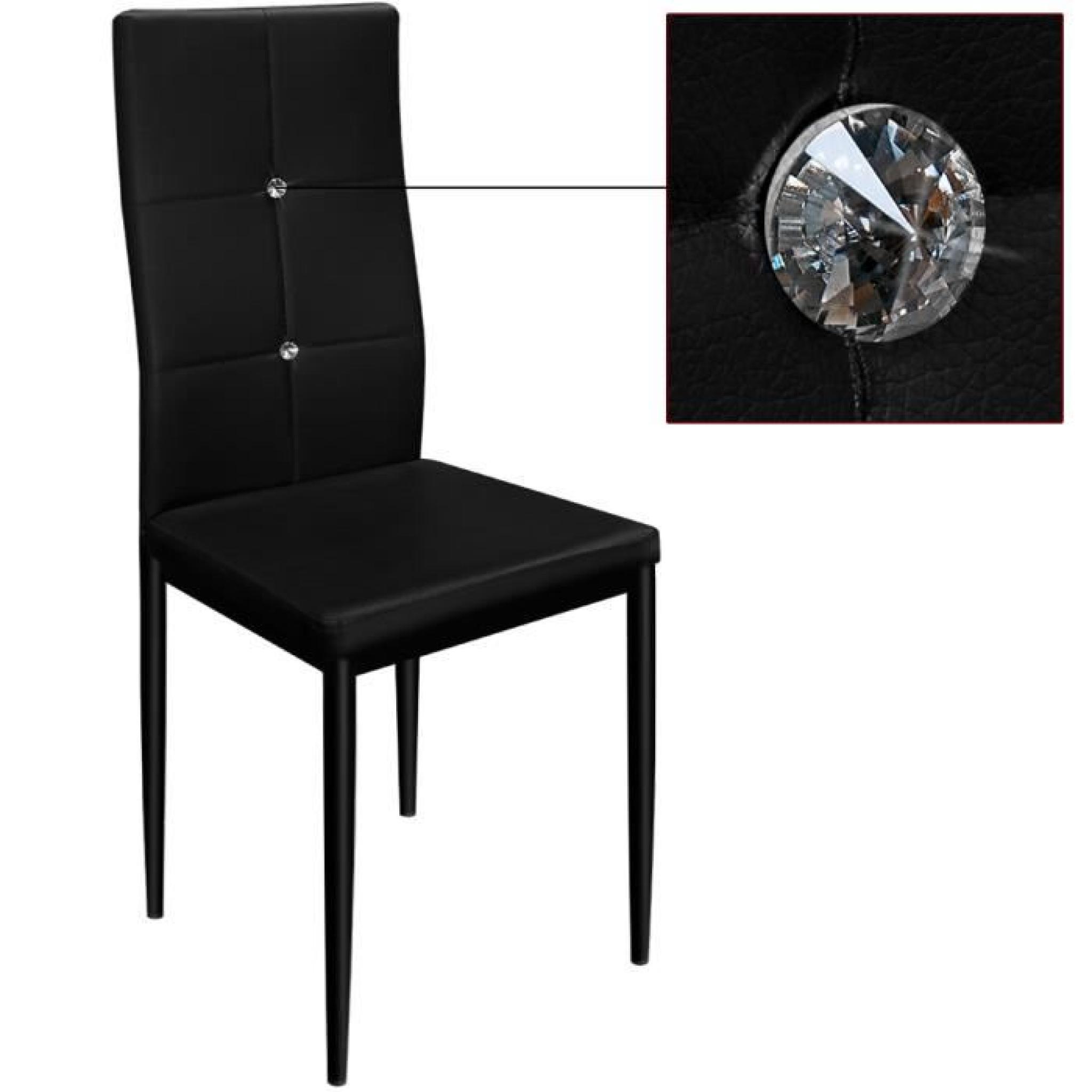 6x chaises de salle manger avec strass noires achat for 6 chaise salle a manger pas cher
