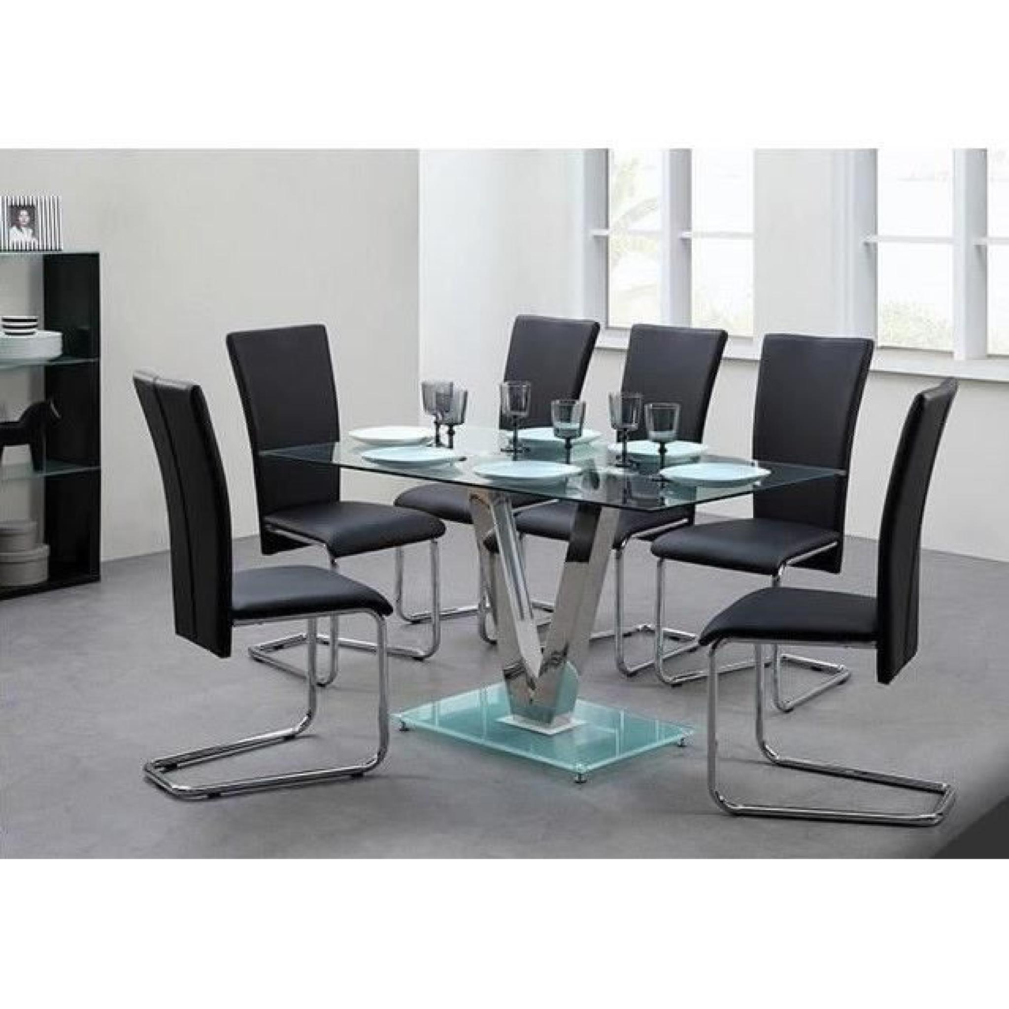 Agora ensemble table manger 6 chaises en simili noir for Ensemble table et chaises de salle a manger