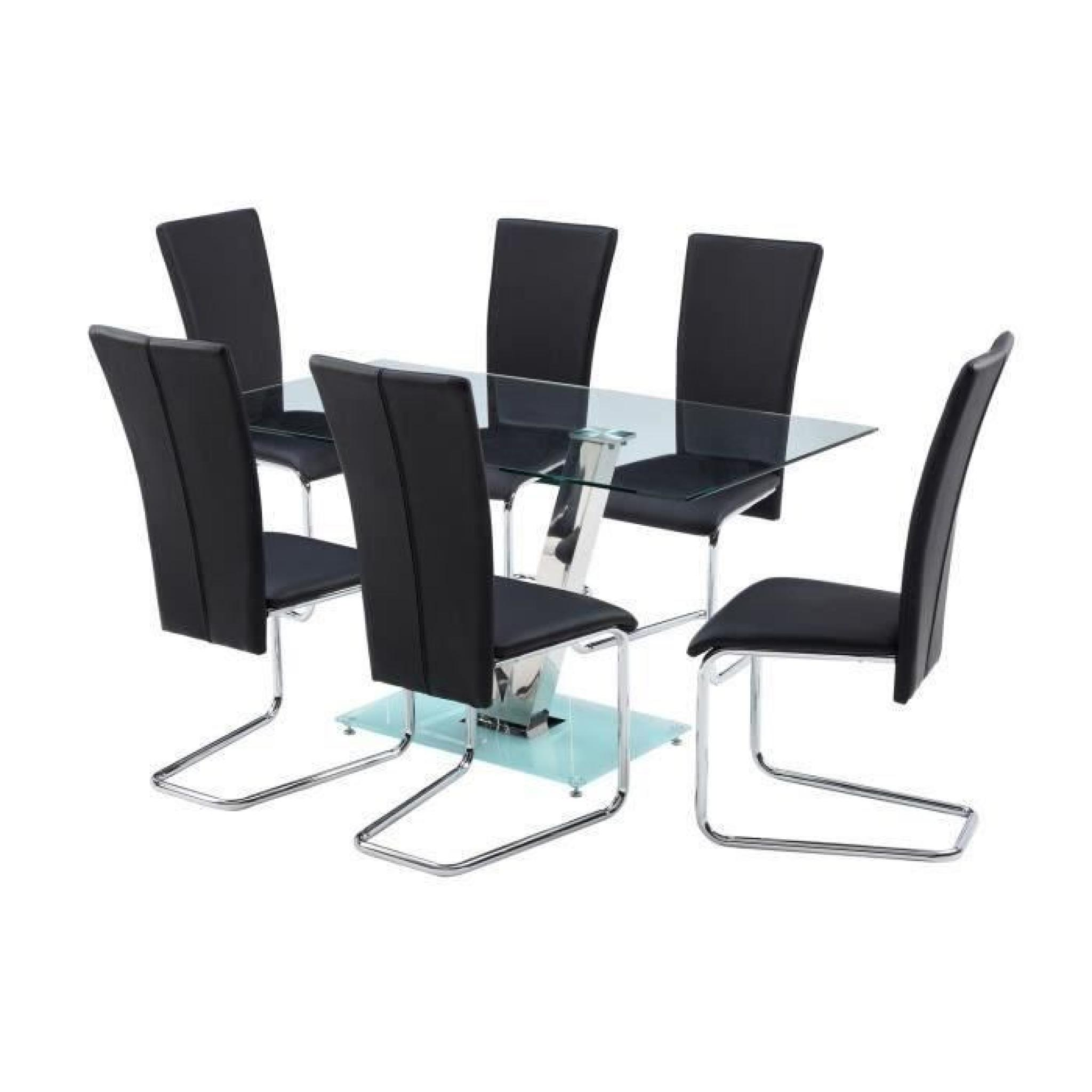 Agora ensemble table manger 6 chaises en simili noir for Ensemble table chaise salle manger pas cher