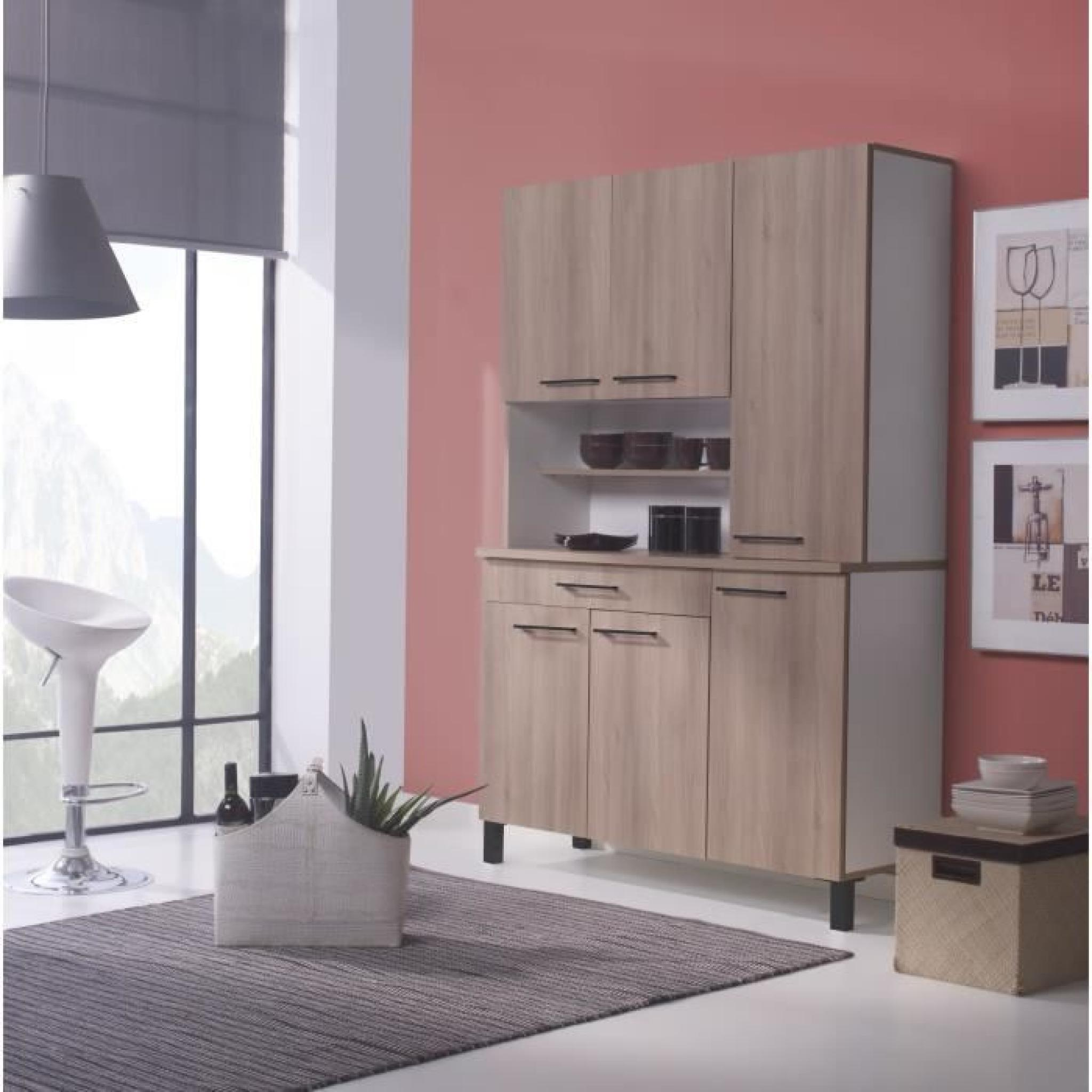 agueda buffet de cuisine 120cm d cor ch ne achat vente buffet de cuisine pas cher couleur. Black Bedroom Furniture Sets. Home Design Ideas