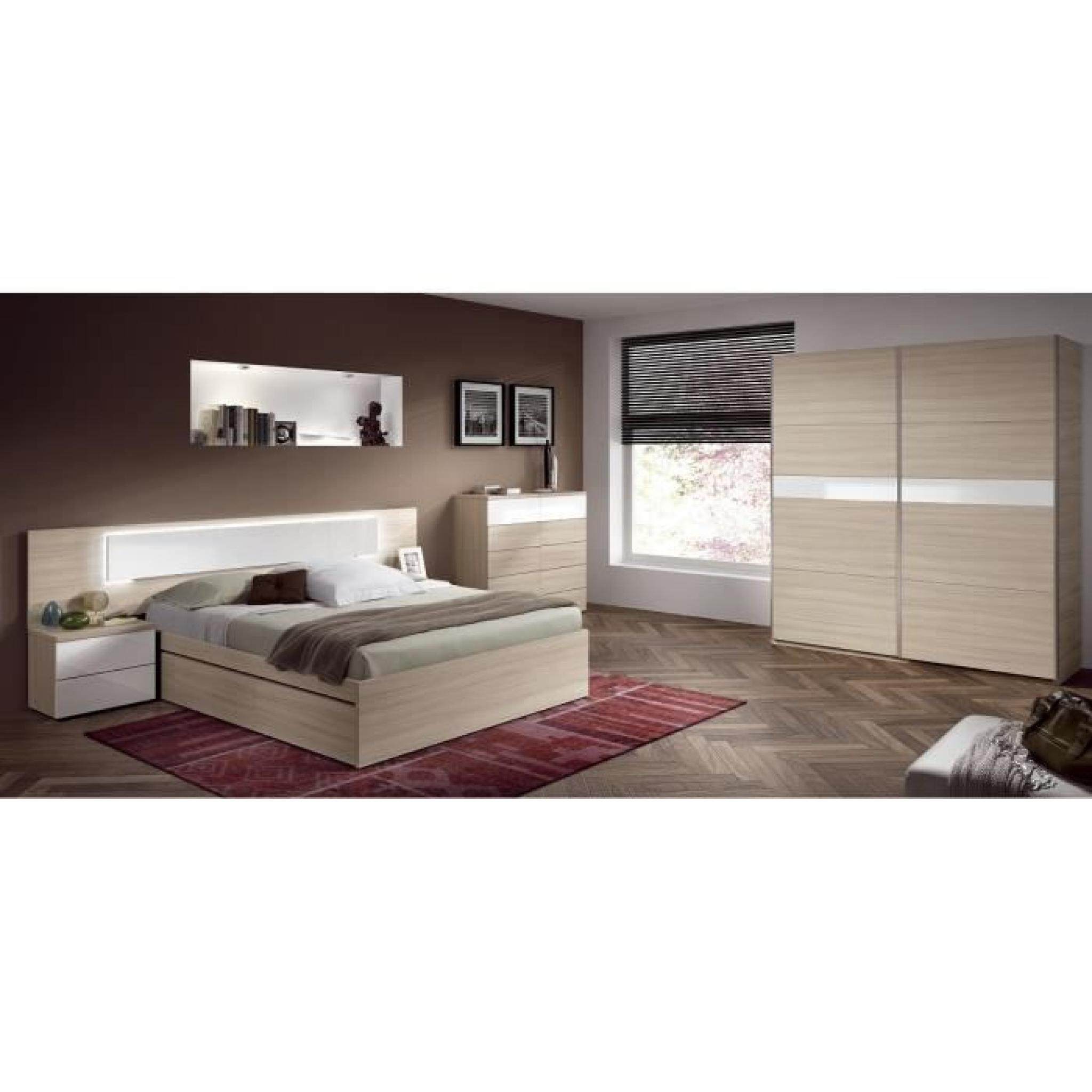 alana t te de lit avec led 263 cm 2 chevets d cor bois et blanc brillant achat vente tete. Black Bedroom Furniture Sets. Home Design Ideas