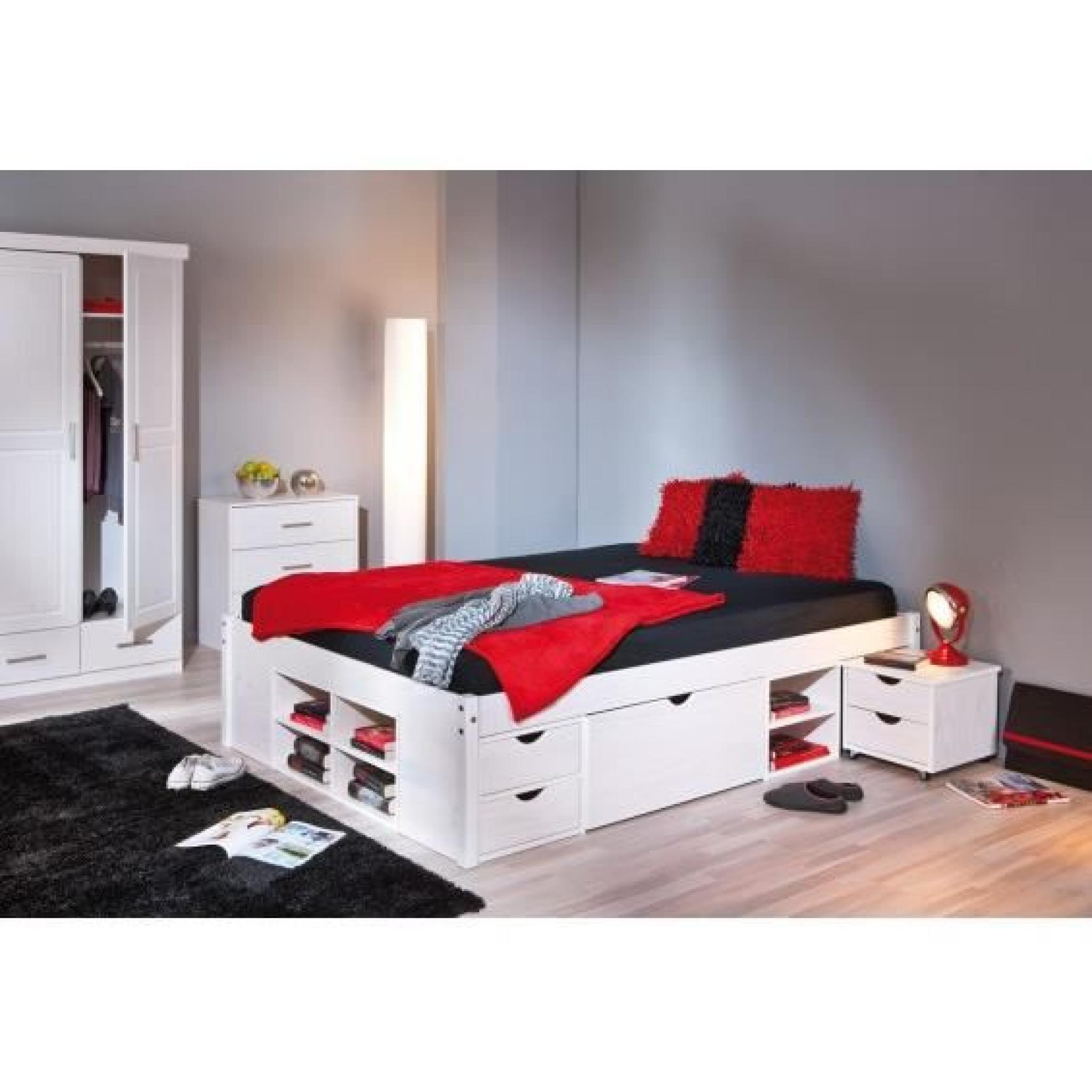 alaska lit 160x200 cm multi rangement achat vente lit pas cher couleur et. Black Bedroom Furniture Sets. Home Design Ideas