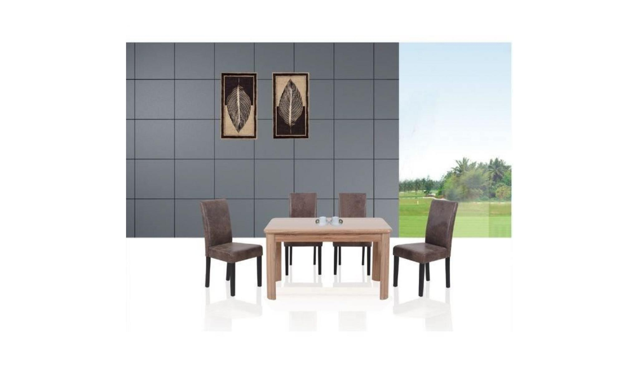 albus lot de 4 chaises de salle manger vintage marron achat vente chaise salle a manger pas. Black Bedroom Furniture Sets. Home Design Ideas