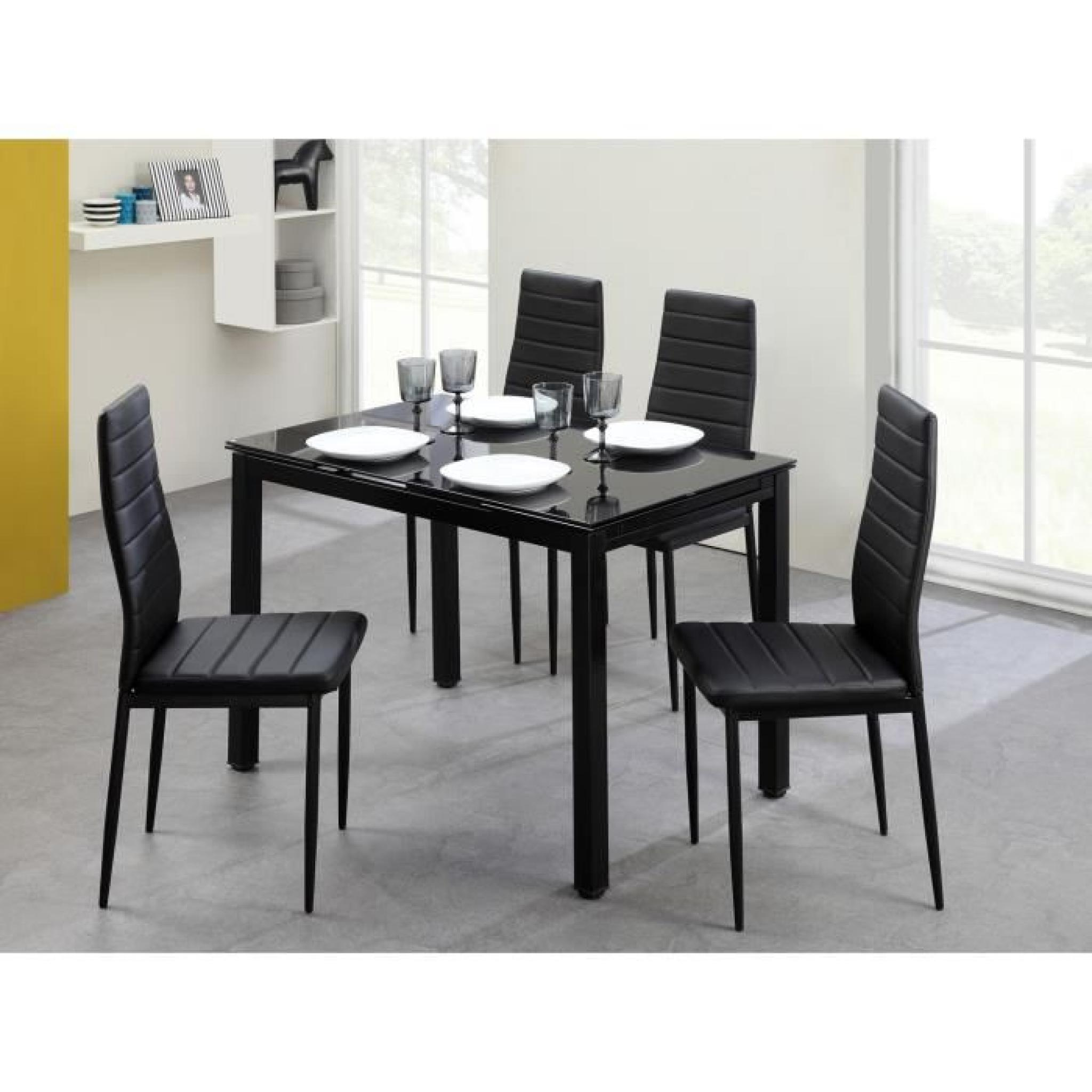 Aleph ensemble table manger 6 chaises en simili noir for Ensemble table 6 chaises pas cher