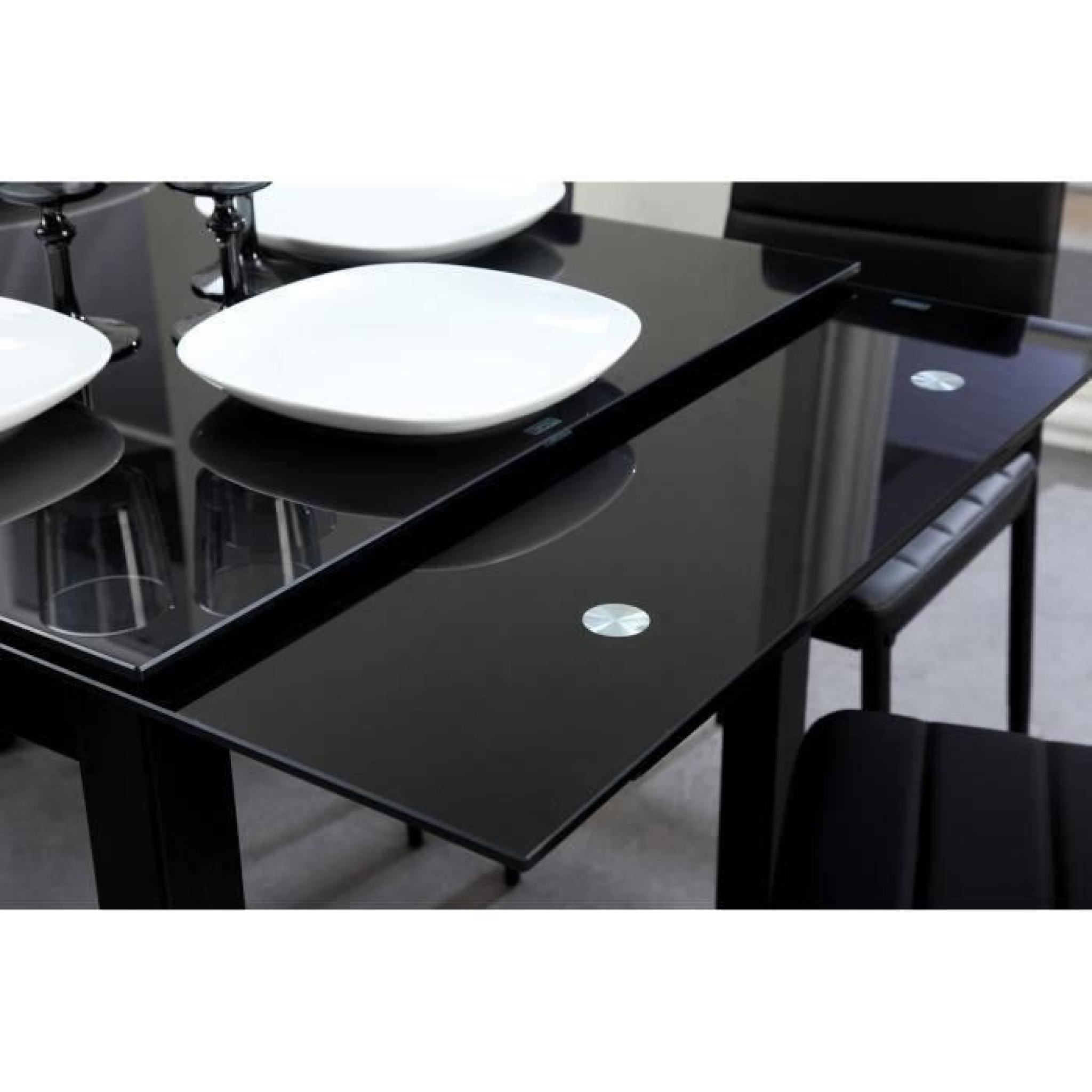 Aleph ensemble table manger 6 chaises en simili noir for Ensemble table et chaise salle a manger pas cher