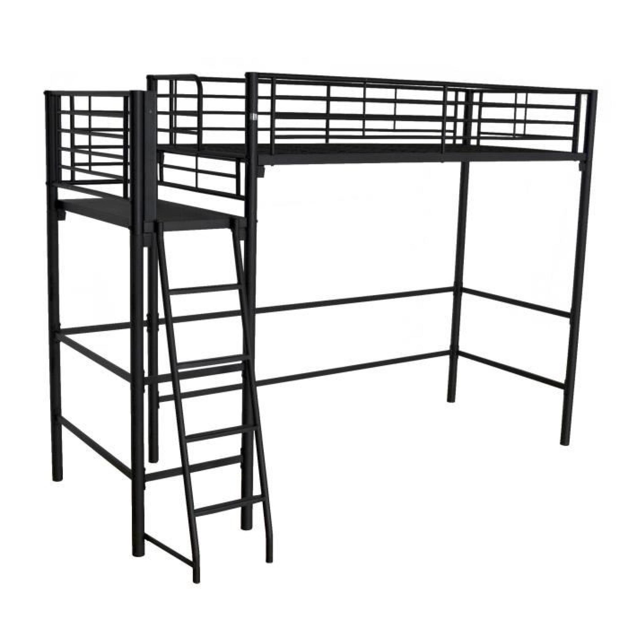 alexy lit mezzanine avec plate forme 90x200cm noir argent. Black Bedroom Furniture Sets. Home Design Ideas