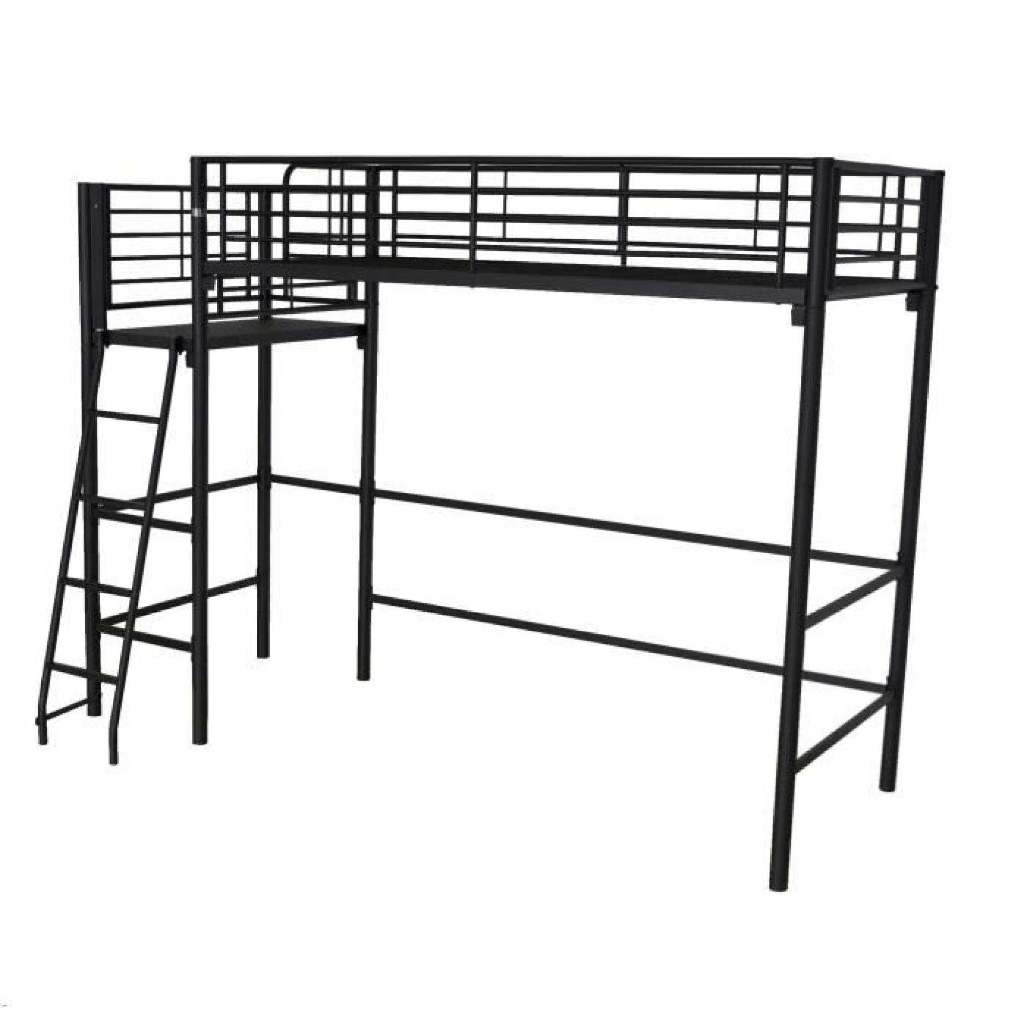 alexy lit mezzanine avec plate forme 90x200cm noir argent achat vente lit mezzanine pas cher. Black Bedroom Furniture Sets. Home Design Ideas