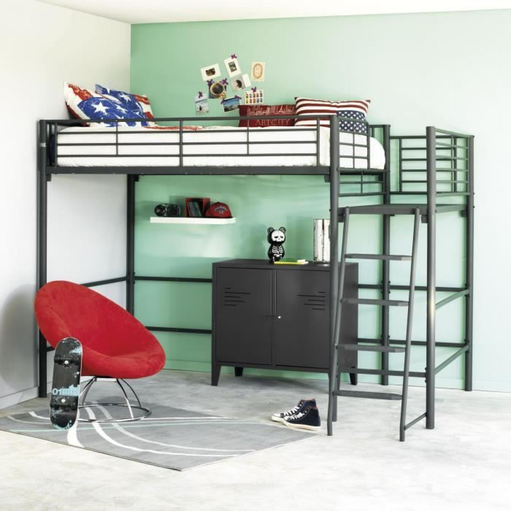 alexy lit mezzanine avec plate forme 90x200cm noir argent. Black Bedroom Furniture Sets. Home Design Ideas