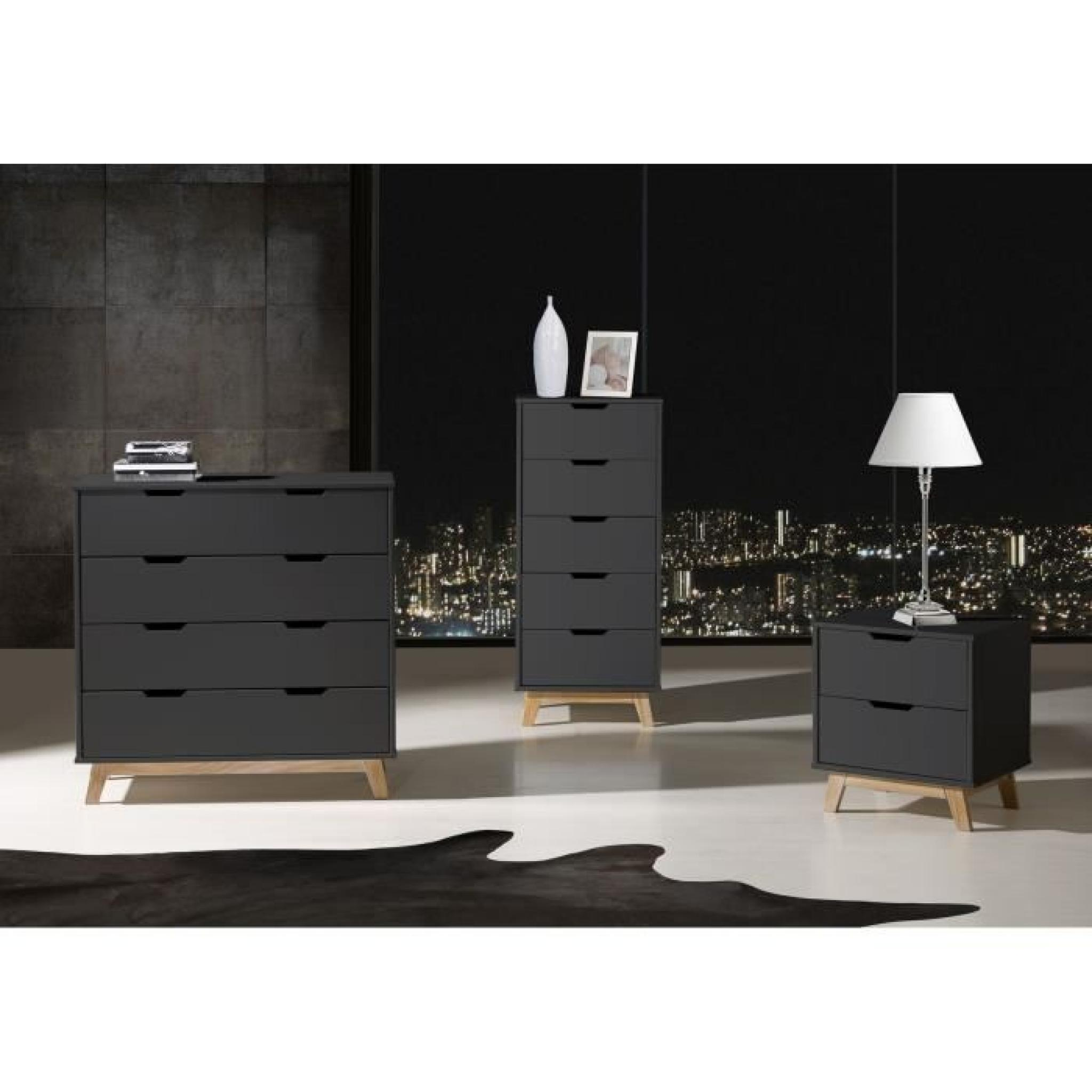 alina commode 4 tiroirs gris anthracite ch ne achat vente commode pas cher couleur et. Black Bedroom Furniture Sets. Home Design Ideas