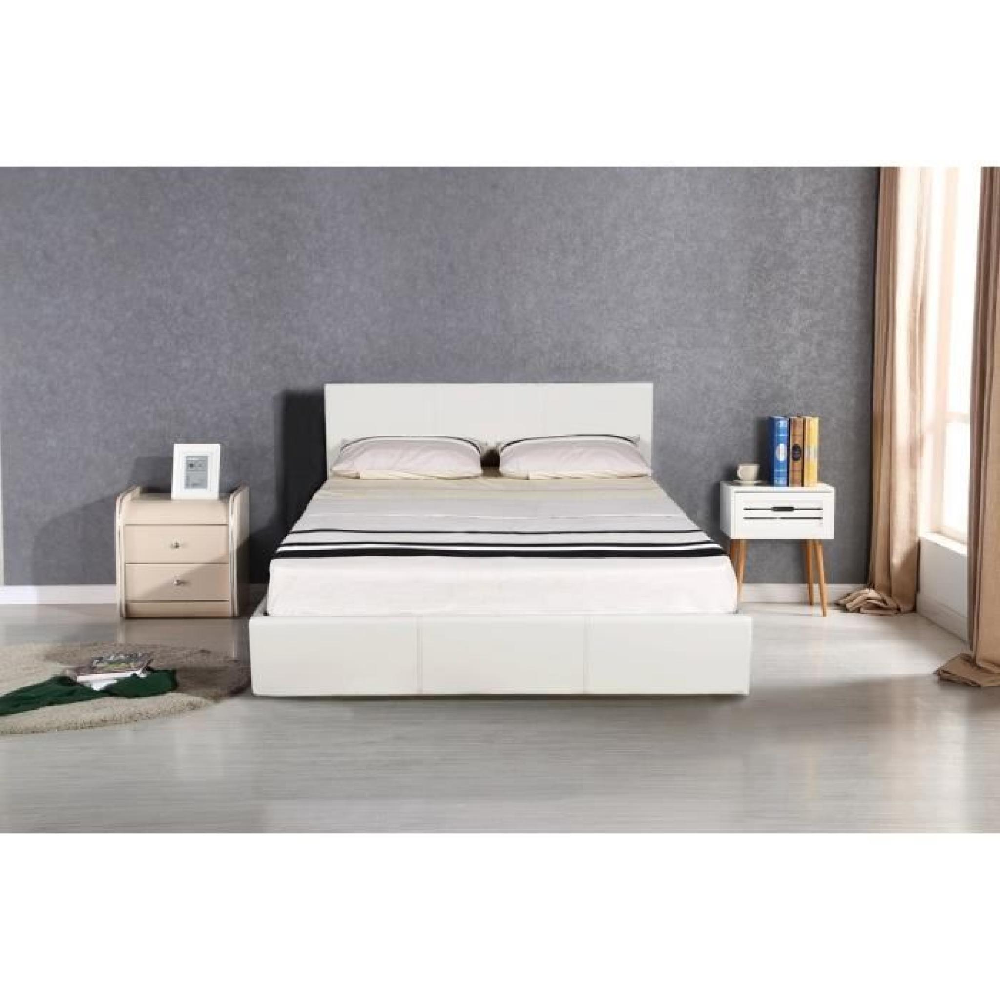 altess lit coffre adulte sommier 140x190cm blanc achat vente lit pas cher couleur et. Black Bedroom Furniture Sets. Home Design Ideas