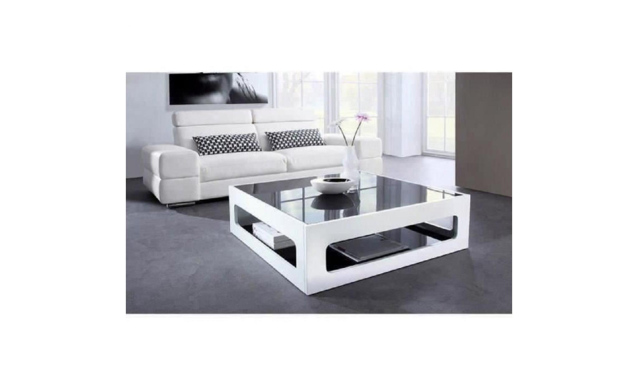 Table Basse Carree Pas Cher.Angel Table Basse Carree Style Contemporain Laquee Blanc Brillant Avec Plateaux En Verre Trempe Noir L 90 X L 90 Cm