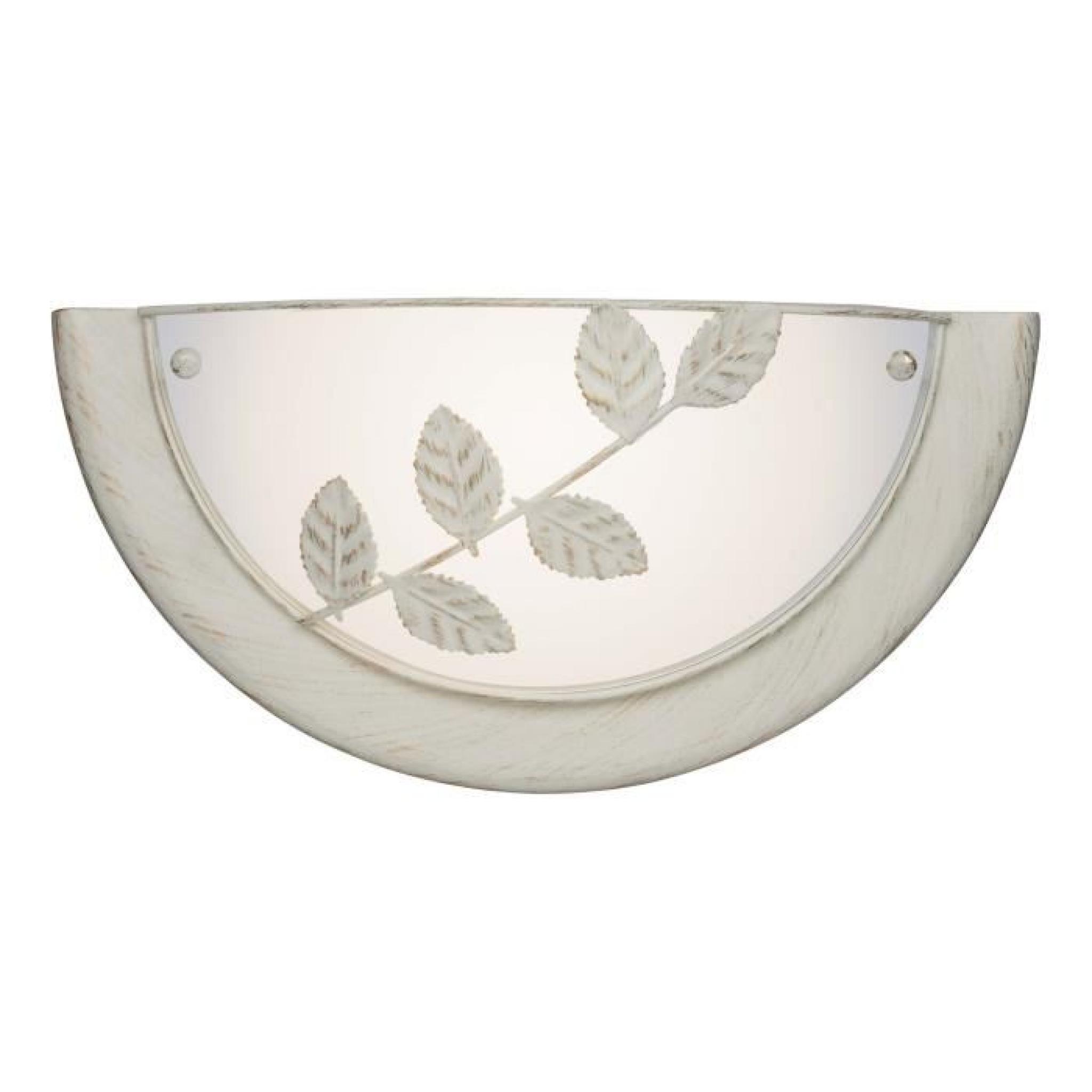 applique demi lune en m tal et verre motifs feuilles longueur flora achat vente. Black Bedroom Furniture Sets. Home Design Ideas