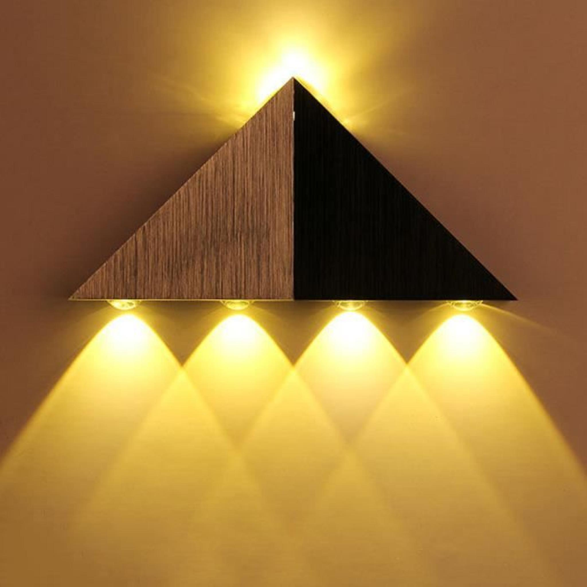 Applique murale en aluminium 5w lampe led triangle de mur for Lumiere applique murale