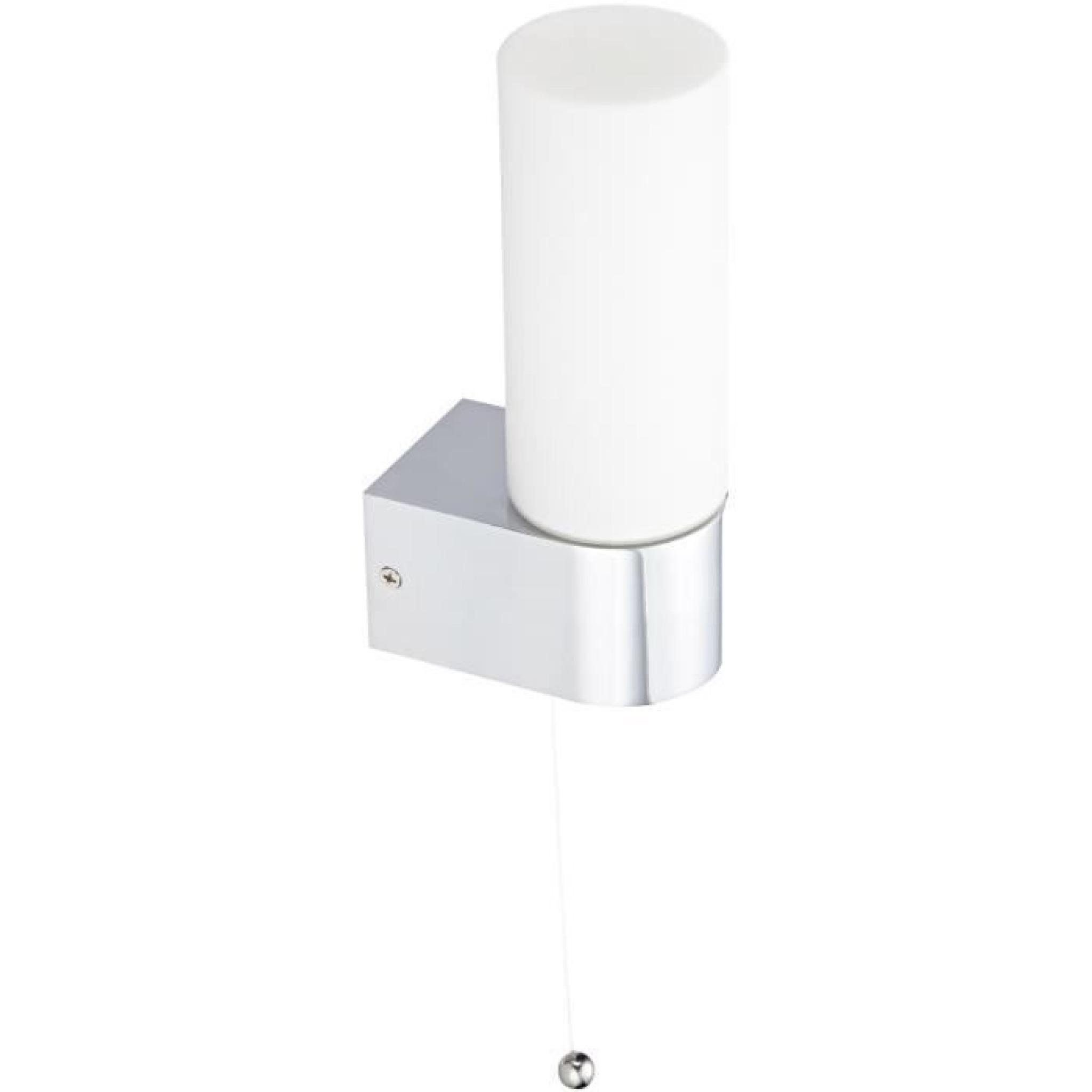 Applique Salle De Bain Verre Opal Et Chrome Avec Interrupteur On / Off,20 X