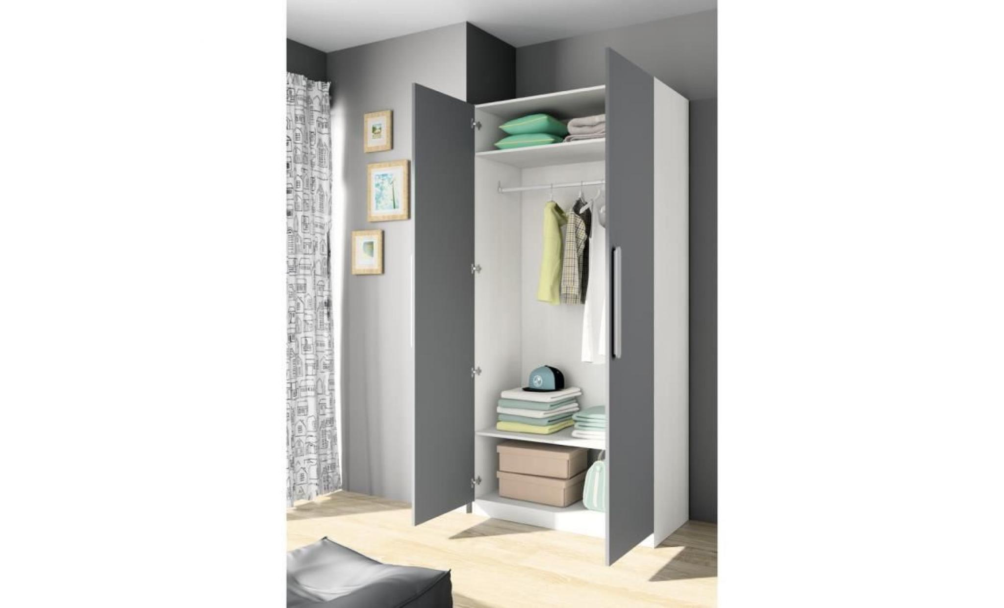 armoire 2 portes achat vente armoire de chambre pas cher. Black Bedroom Furniture Sets. Home Design Ideas