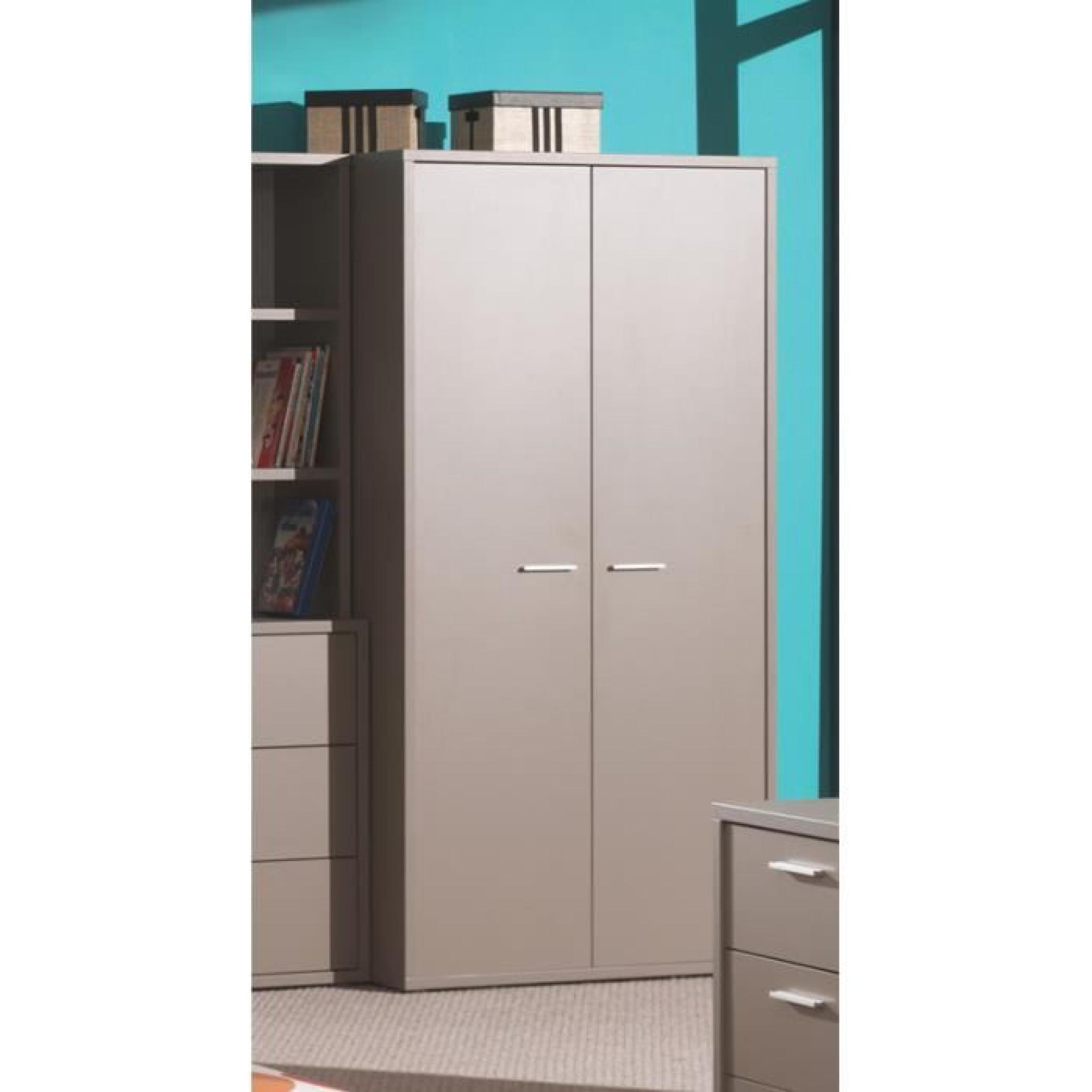 Armoire 2 portes moderne gris basalte pour enfant achat for Chambre moderne pas cher