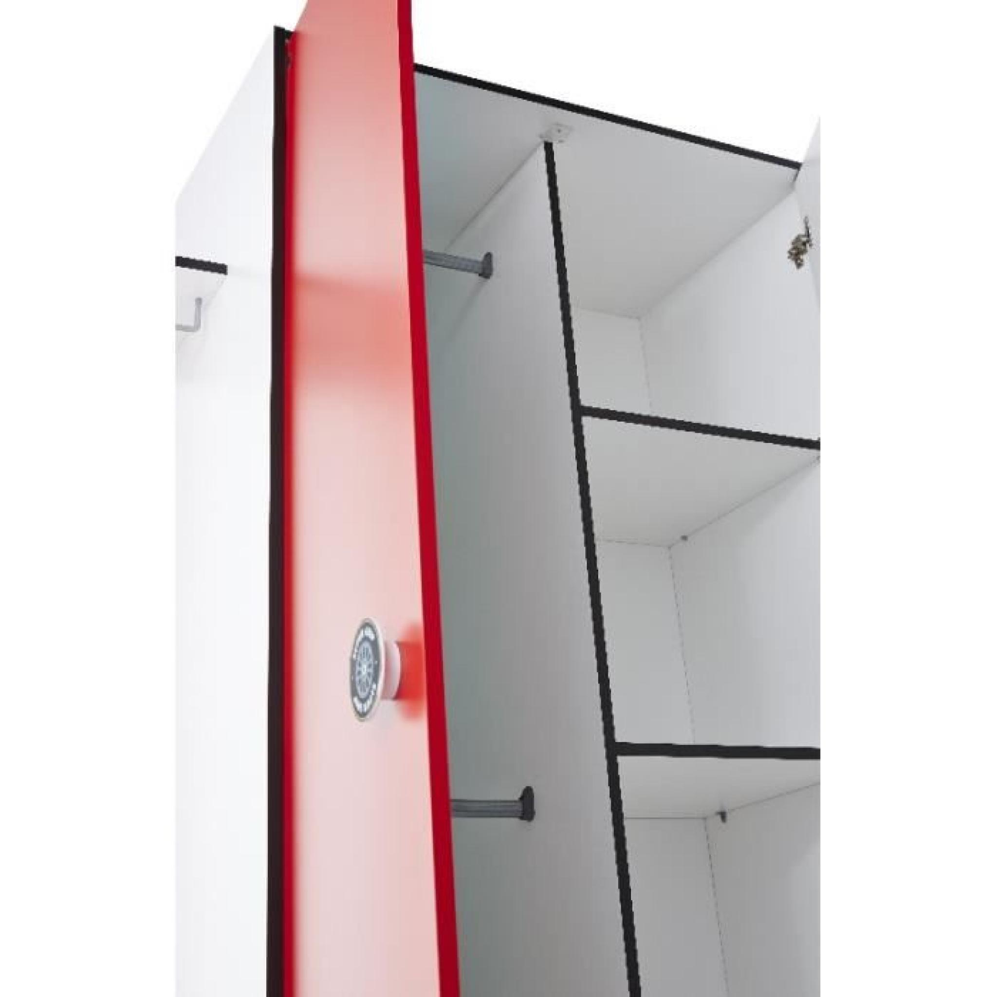 armoire 2 portes rally rouge et blanc achat vente armoire de chambre pas cher couleur et. Black Bedroom Furniture Sets. Home Design Ideas
