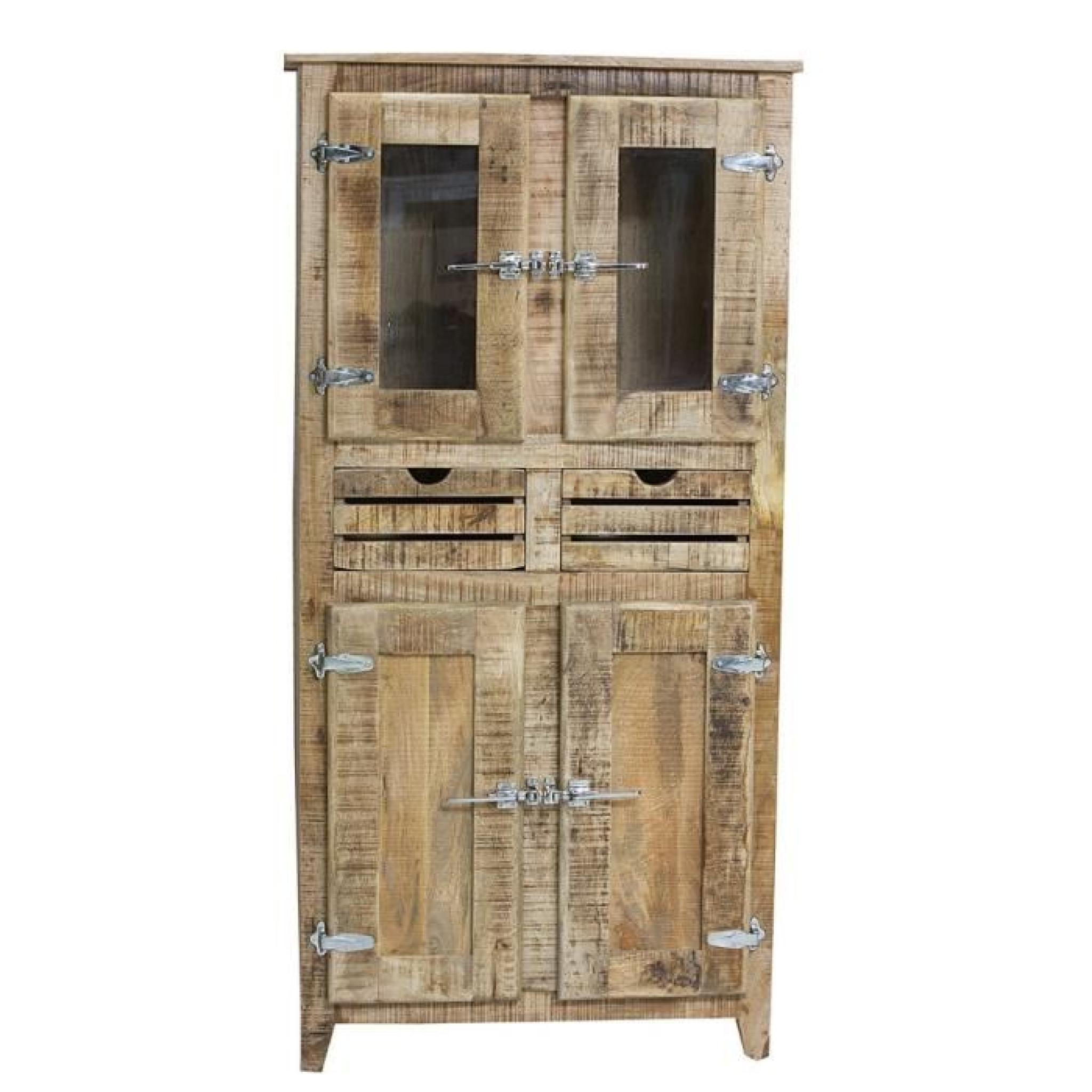 armoire 2 portes frigo bois naturel achat vente armoire. Black Bedroom Furniture Sets. Home Design Ideas