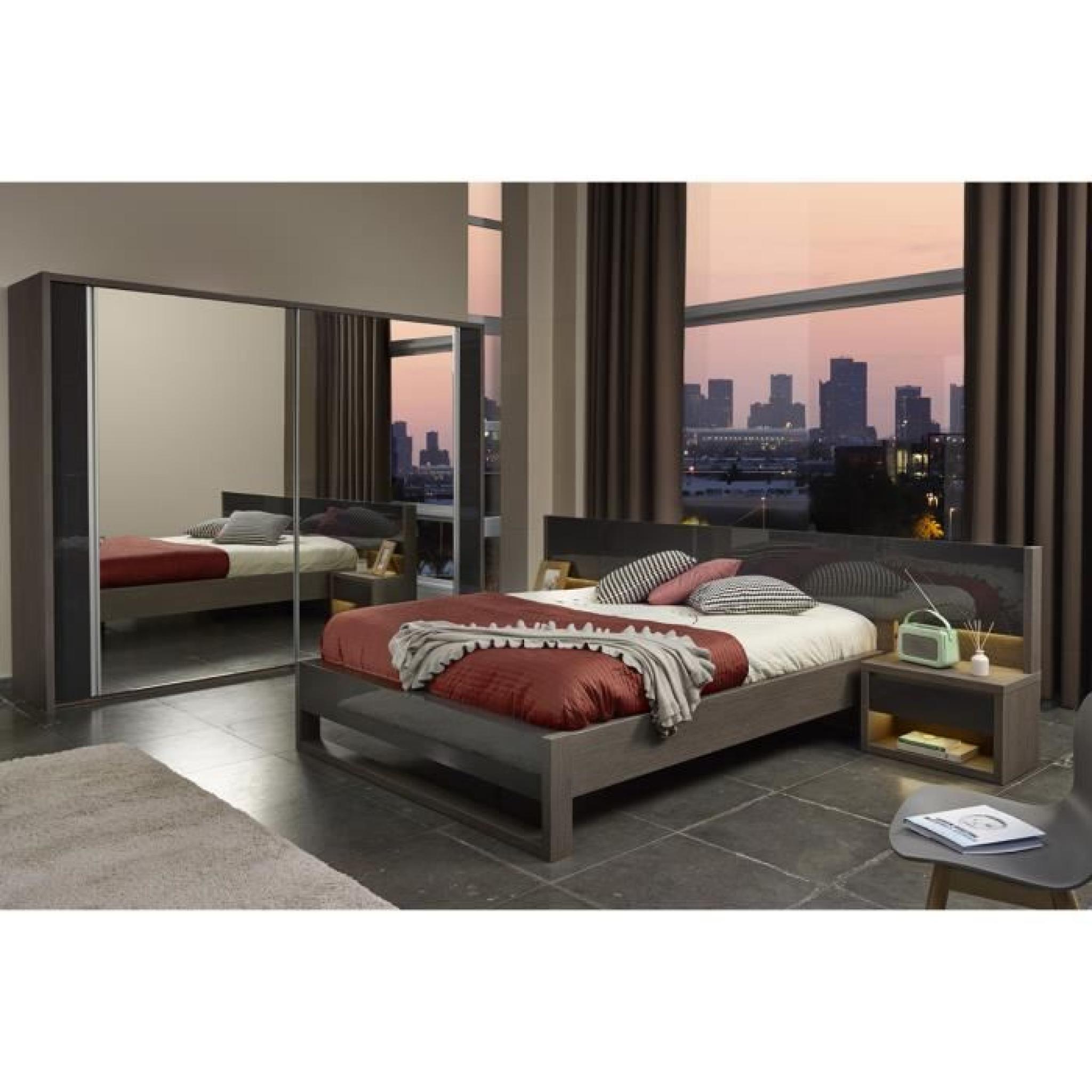 Armoire 230 cm avec miroir coloris ch ne fonc et gris for Armoire miroir chambre