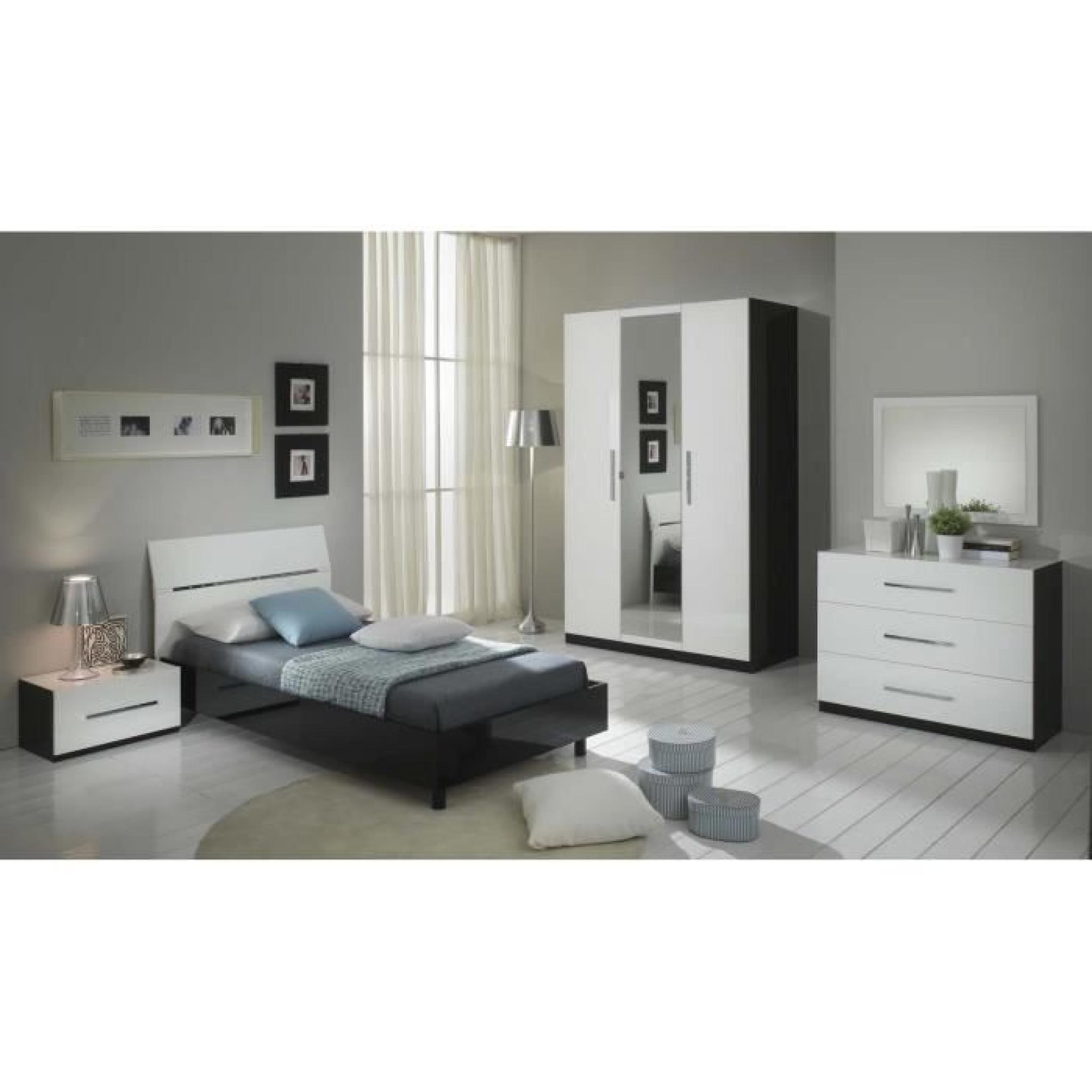 armoire 3 portes avec miroir central coloris blanc et noir. Black Bedroom Furniture Sets. Home Design Ideas
