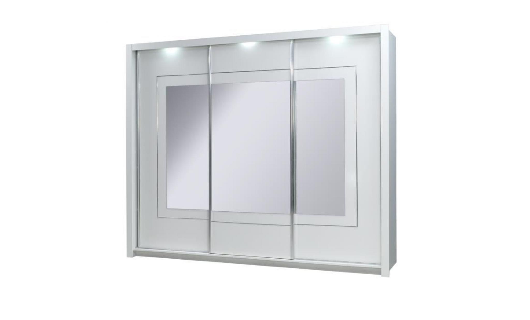 Armoire 3 portes coulissantes panarea miroirs led achat for Portes coulissantes miroir