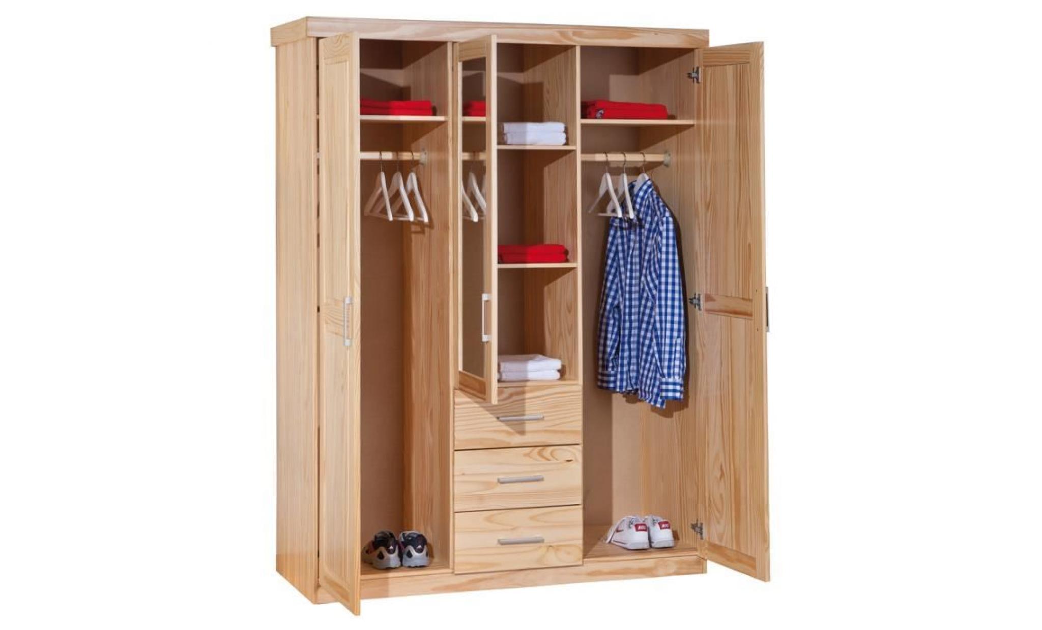 armoire 3 portes miroir et tiroirs en pin massif achat vente armoire de chambre pas cher. Black Bedroom Furniture Sets. Home Design Ideas