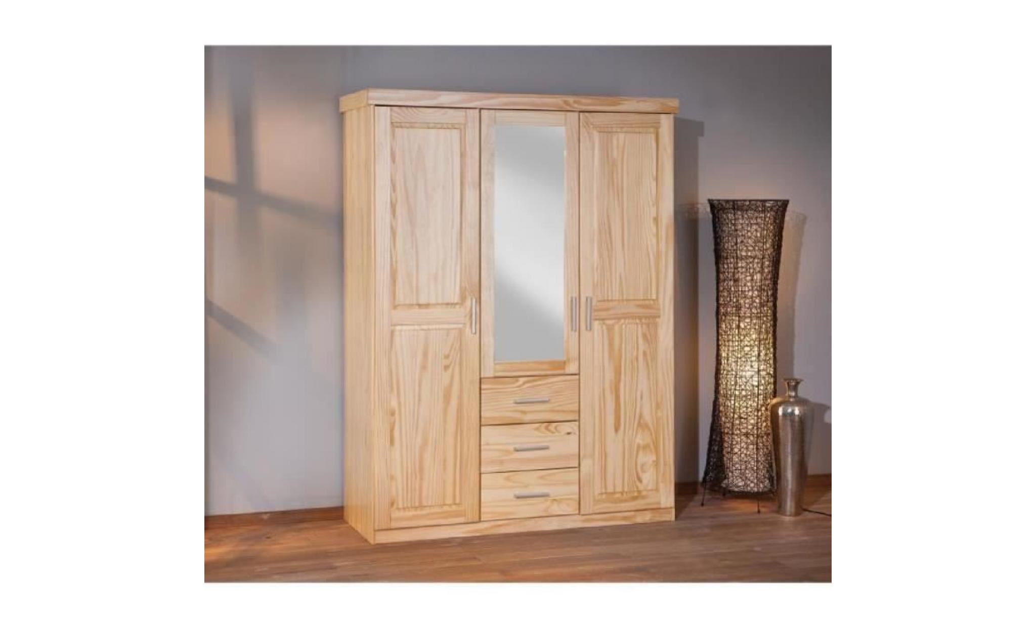 armoire 3 portes miroir et tiroirs en pin massif achat. Black Bedroom Furniture Sets. Home Design Ideas