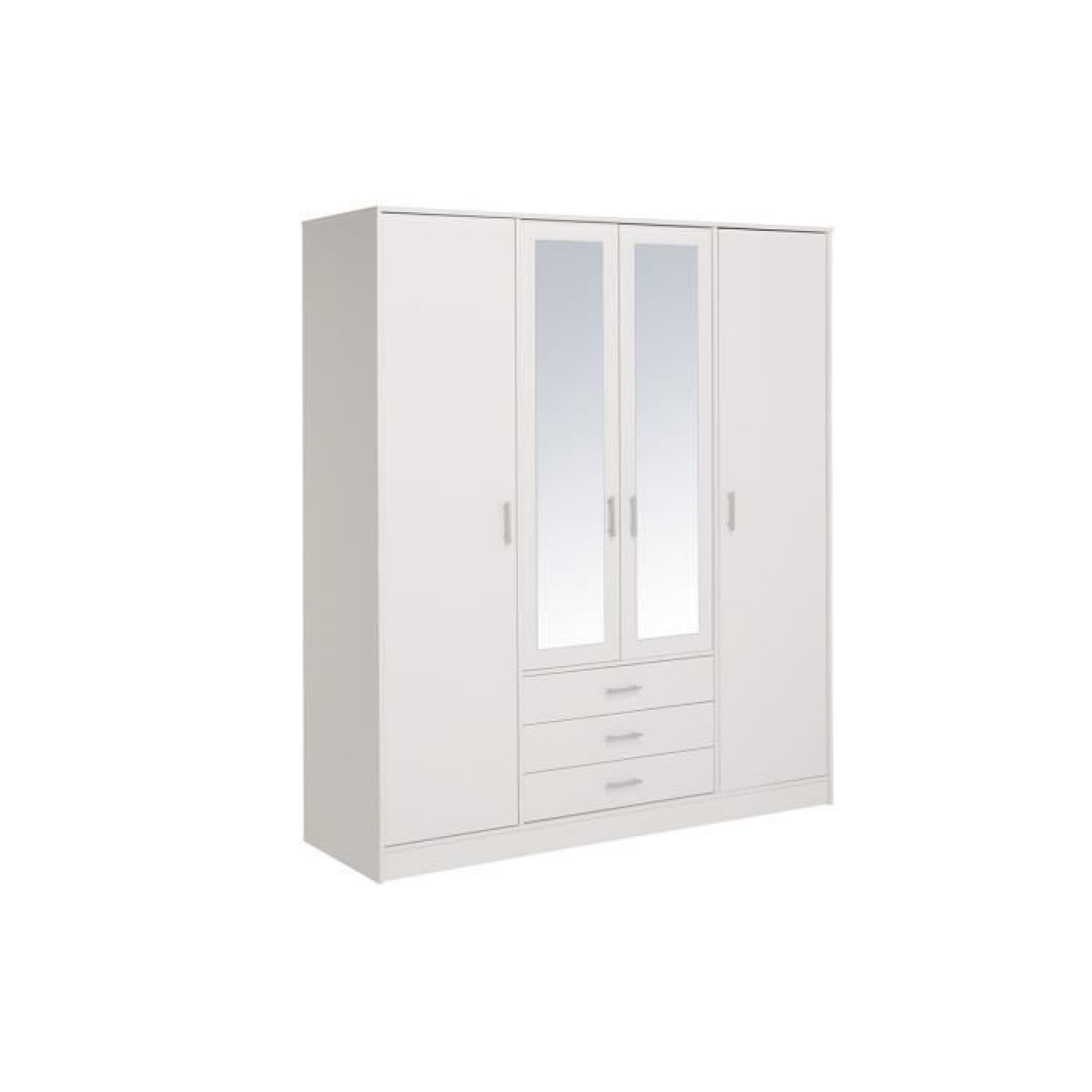 armoire 4 portes 3 tiroirs blanc eternal achat vente armoire de chambre pas cher couleur. Black Bedroom Furniture Sets. Home Design Ideas