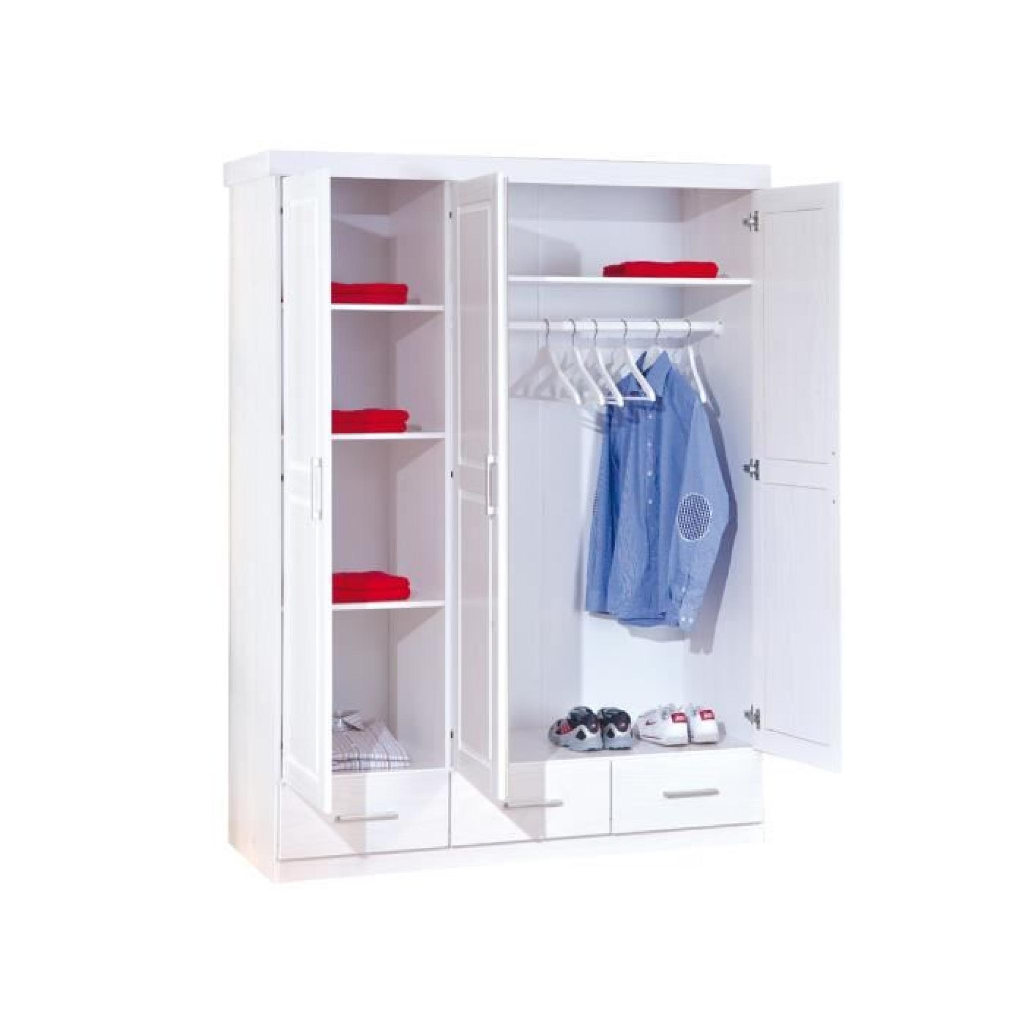 Armoire 3 portes et 3 tiroir coloris blanc en bois for Porte de chambre en bois pas cher
