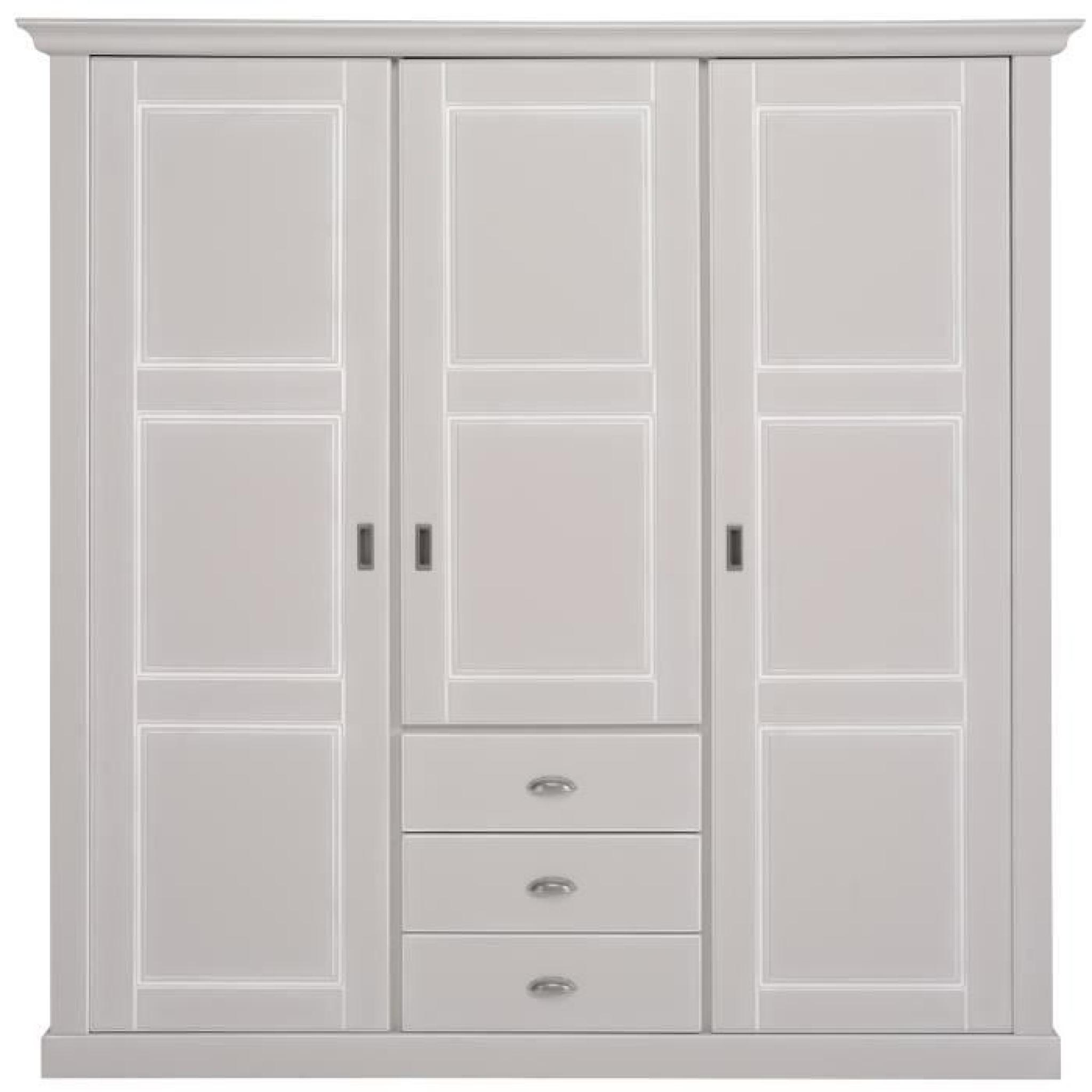 armoire 3 portes et 3 tiroirs coloris gris clair laqu. Black Bedroom Furniture Sets. Home Design Ideas