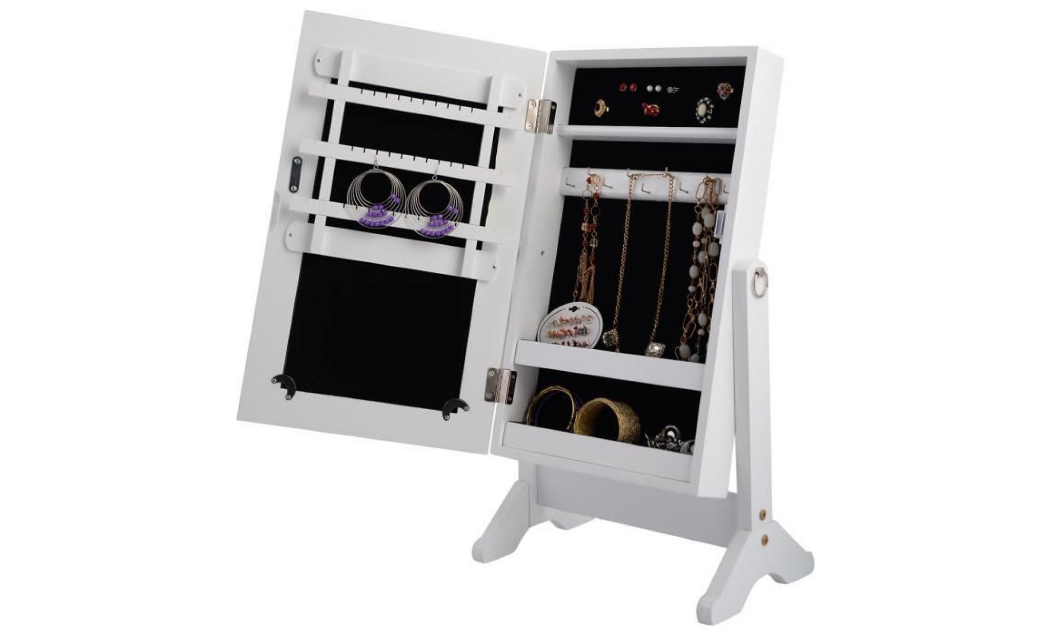 Armoire A Bijoux Sur Pied Miroir Bague Collier Accesoire Rangement Blanc Achat Vente Armoire Pas Cher Couleur Et Design Fr