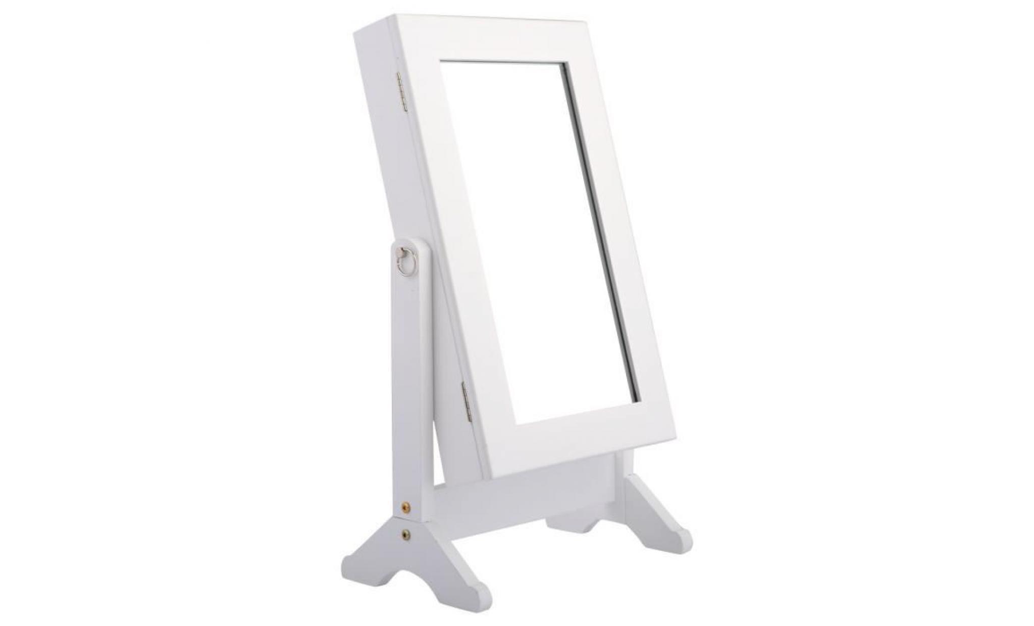 armoire à bijoux sur pied miroir bague collier accesoire rangement blanc