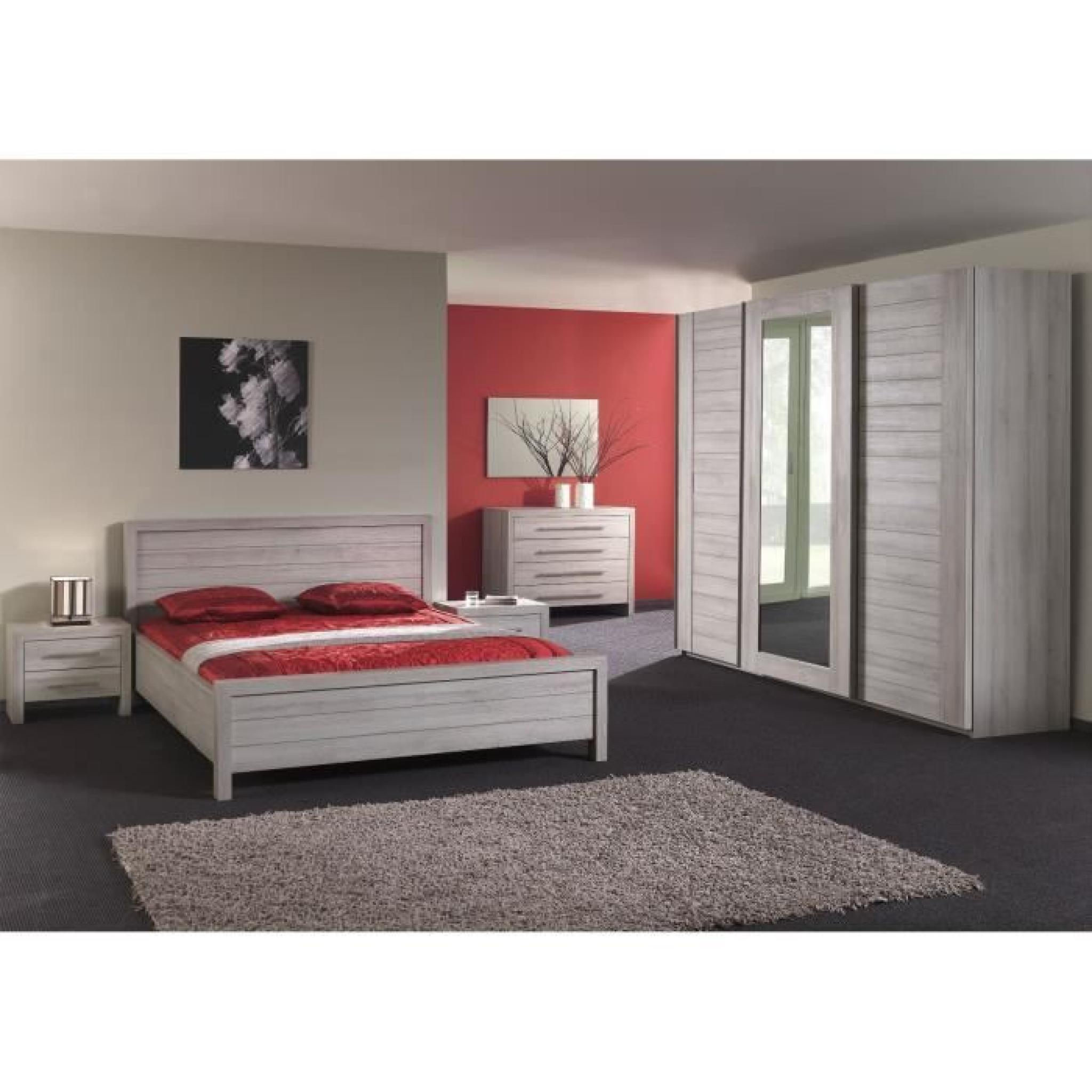 Armoire adulte 280 cm coloris ch ne gris achat vente - Ensemble chambre adulte pas cher ...
