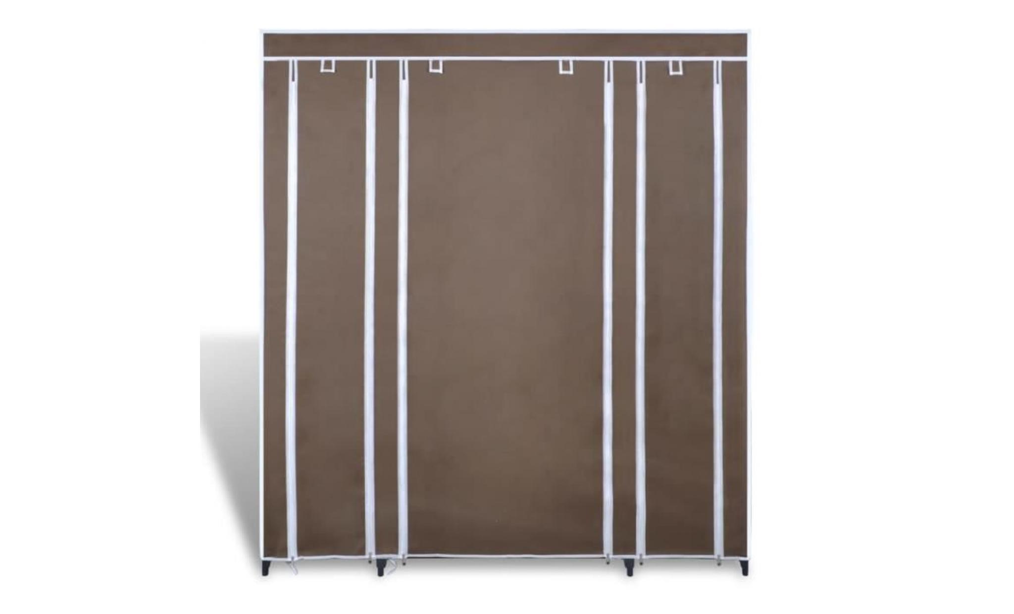 armoire avec compartiments et tiges 45 x 150 x 176 cm marron armoire  chambre armoire penderie armoire de chambre contemporain