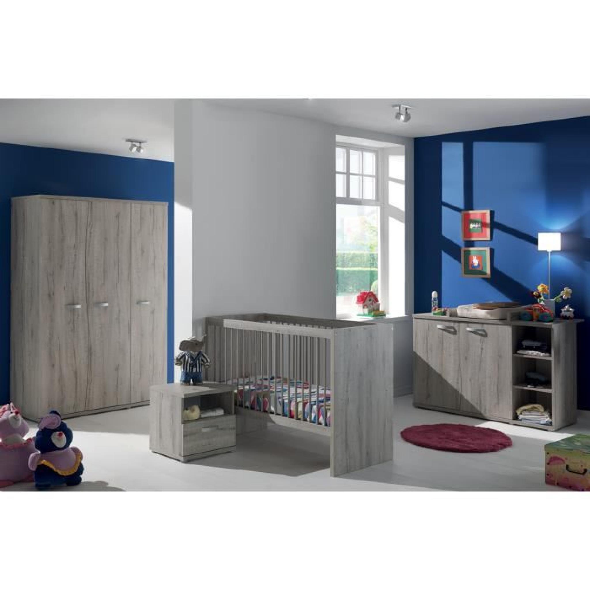 Armoire chambre bébé moderne 140cm 3 portes avec courbes coloris