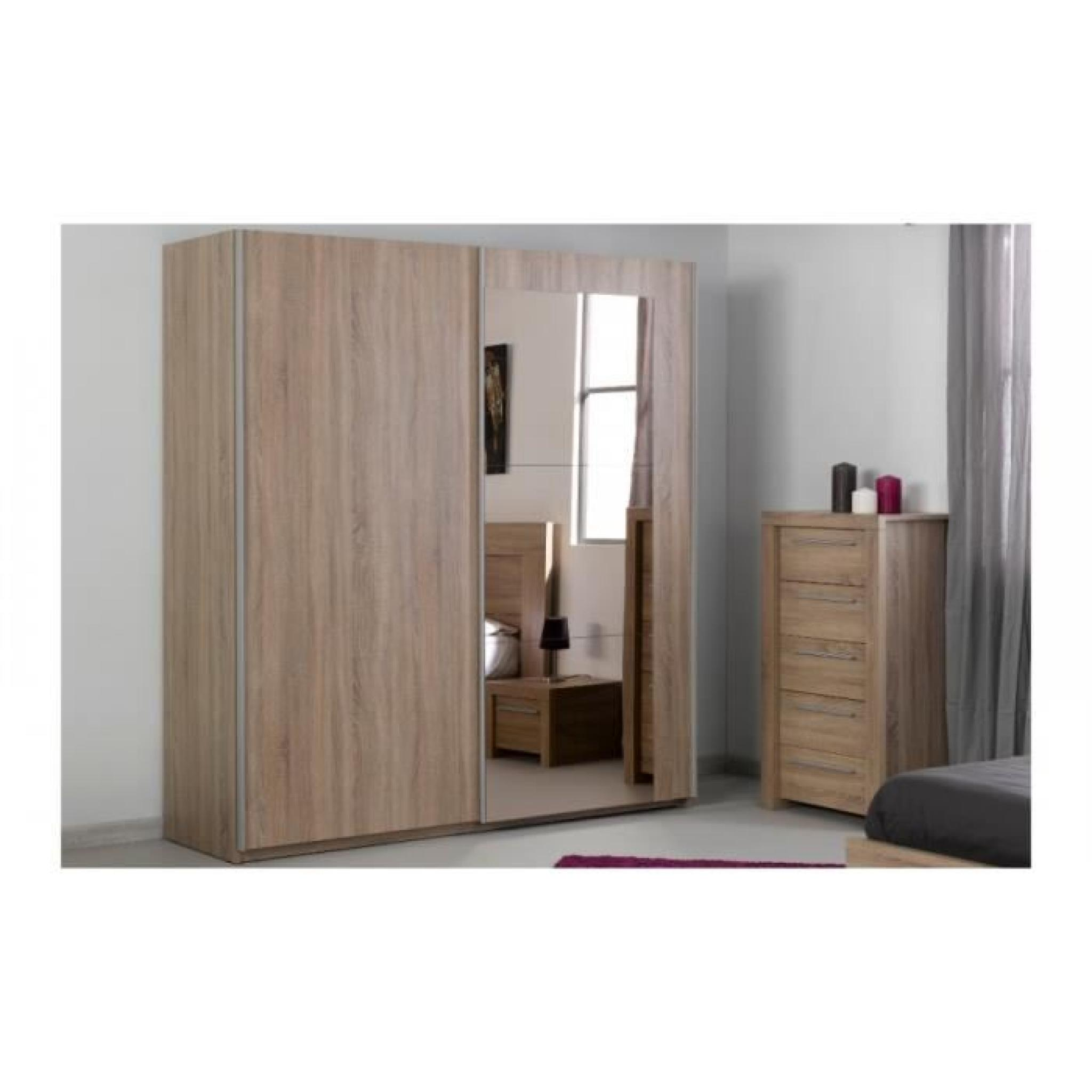 armoire coulissante ana bois portes miroirs achat vente. Black Bedroom Furniture Sets. Home Design Ideas