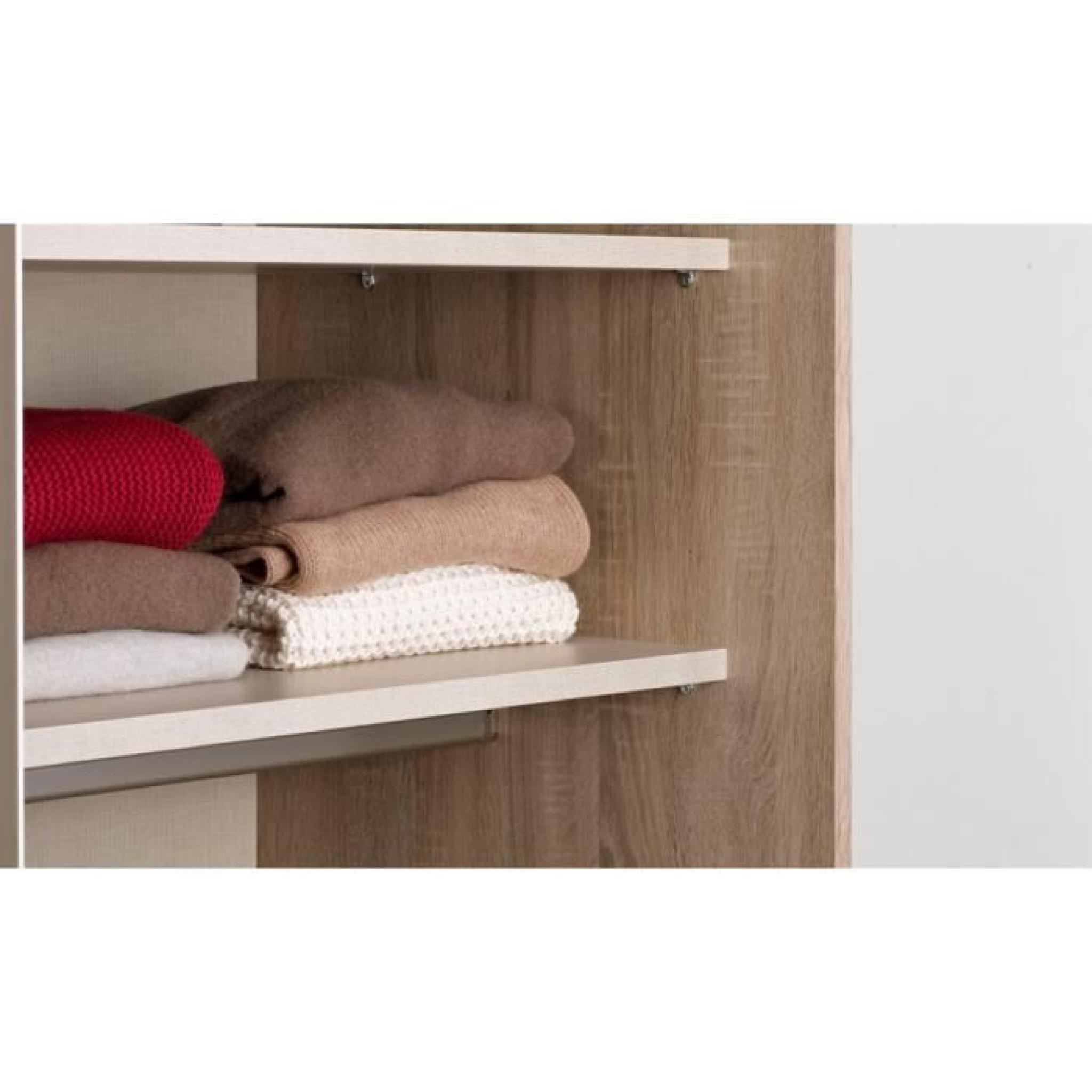 Armoire coulissante ana bois portes miroirs achat vente for Porte de chambre en bois pas cher