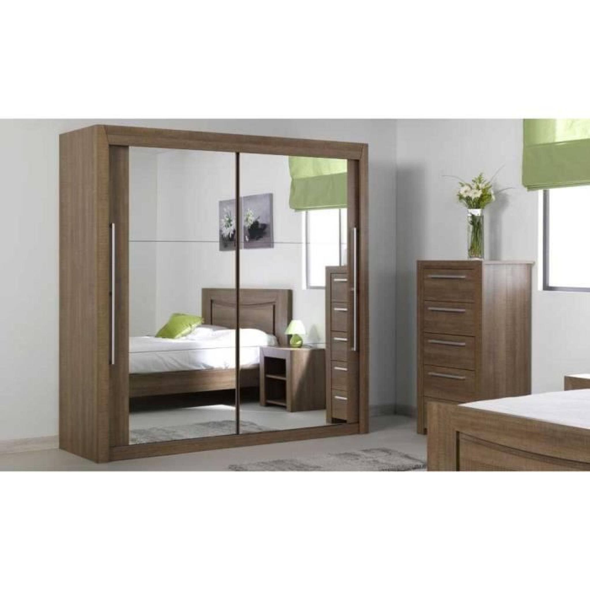 Armoire coulissante bora bois portes miroirs achat vente for Porte de chambre en bois pas cher