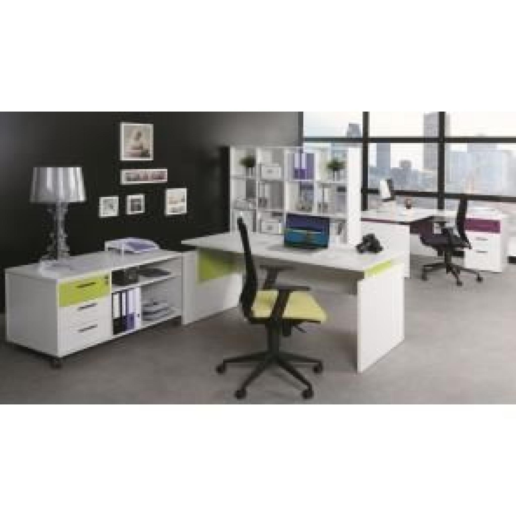Armoire de bureau basse 2 portes blanc ch ne clair ineo achat vente armoire de chambre pas - Table basse chene clair pas cher ...