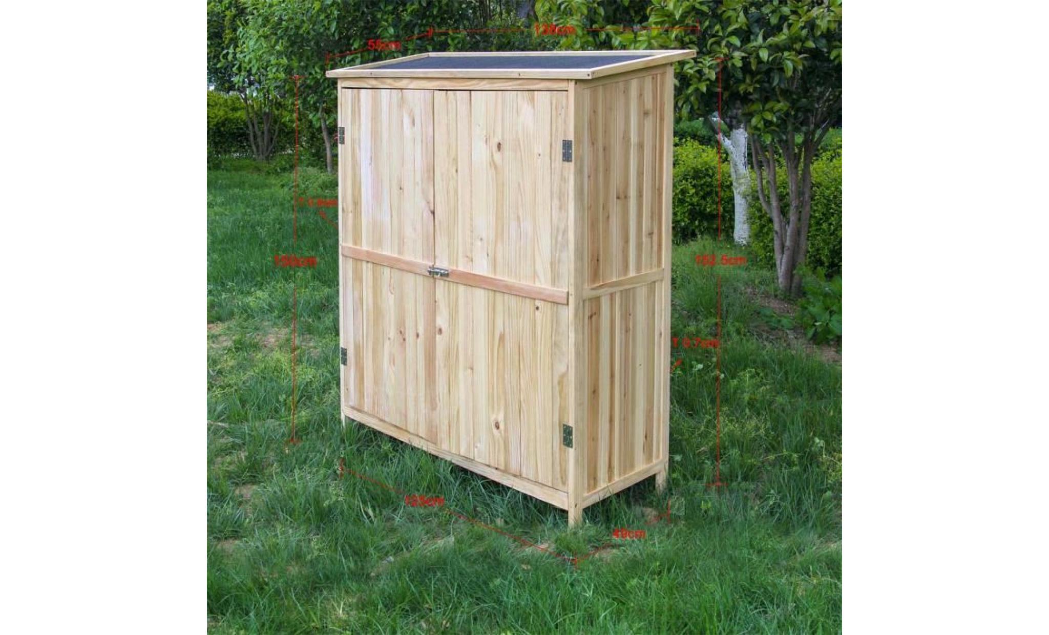 Armoire De Jardin En Bois Naturel 2 Portes 138x55x155cm Armoire A Outils 60822 Achat Vente Armoire Pas Cher Couleur Et Design Fr