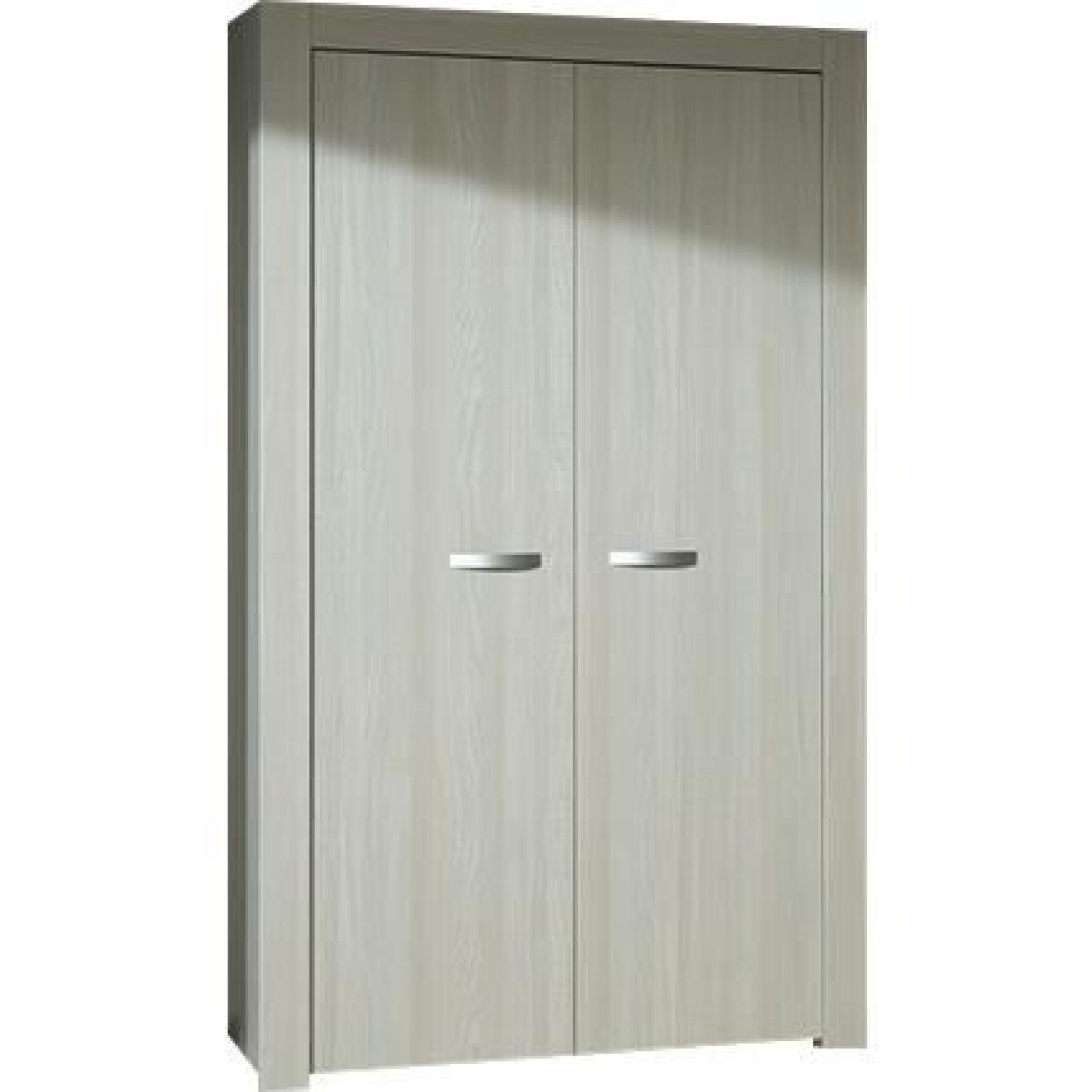 Armoire de rangement 2 portes 108cm moderne coloris gris boisé